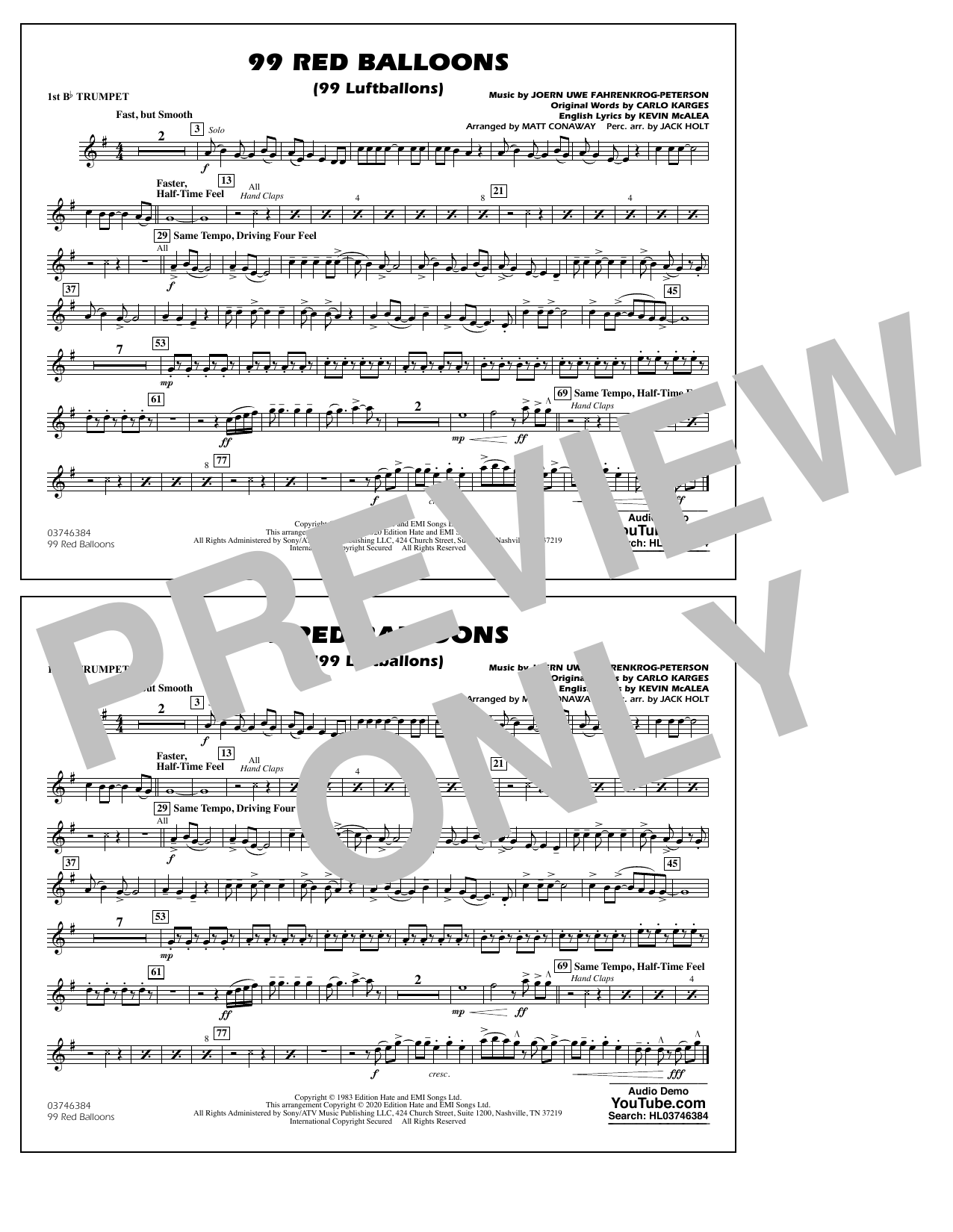 99 Red Balloons (arr. Holt and Conaway) - 1st Bb Trumpet Sheet Music