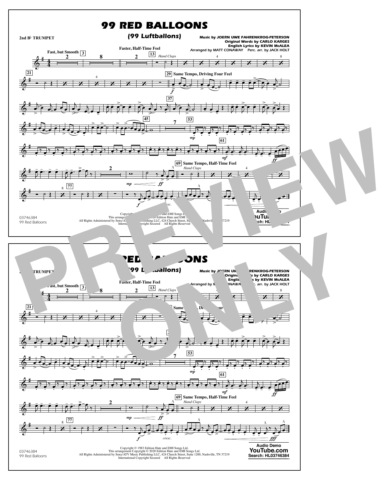 99 Red Balloons (arr. Holt and Conaway) - 2nd Bb Trumpet Sheet Music