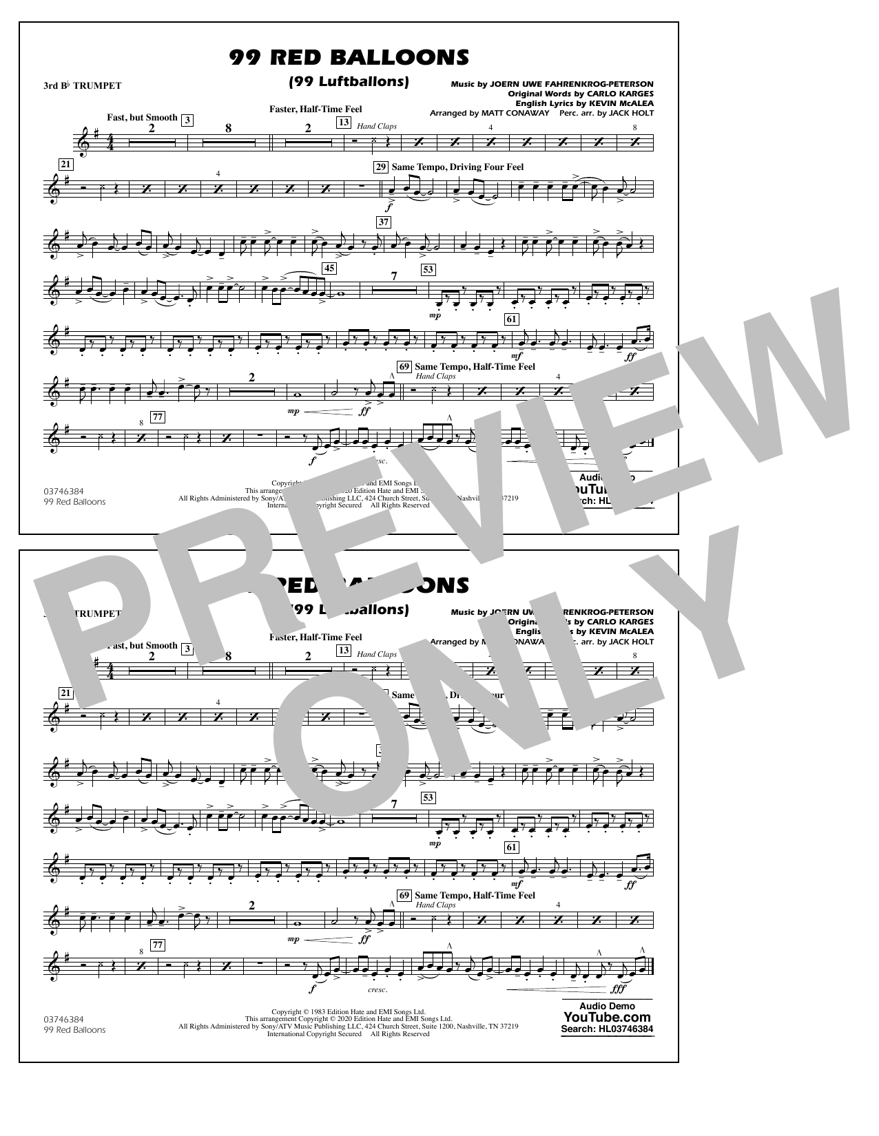 99 Red Balloons (arr. Holt and Conaway) - 3rd Bb Trumpet Sheet Music