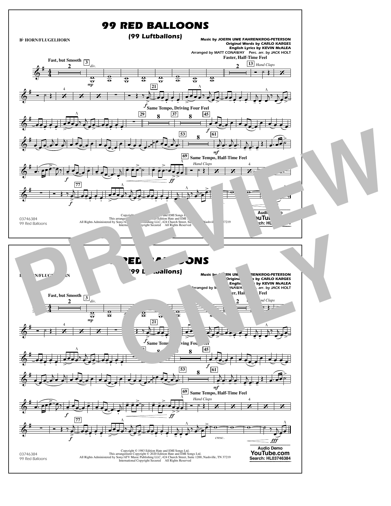 99 Red Balloons (arr. Holt and Conaway) - Bb Horn/Flugelhorn Sheet Music