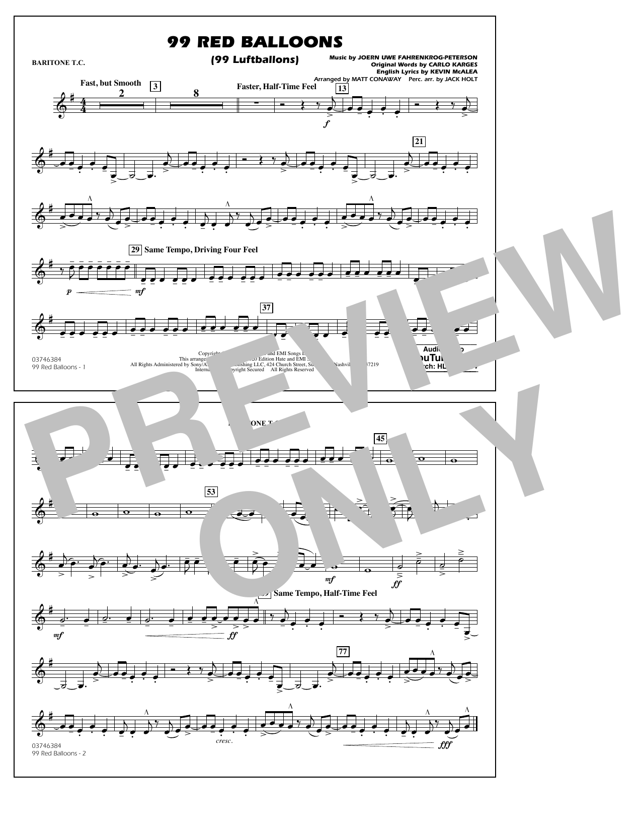99 Red Balloons (arr. Holt and Conaway) - Baritone T.C. Sheet Music
