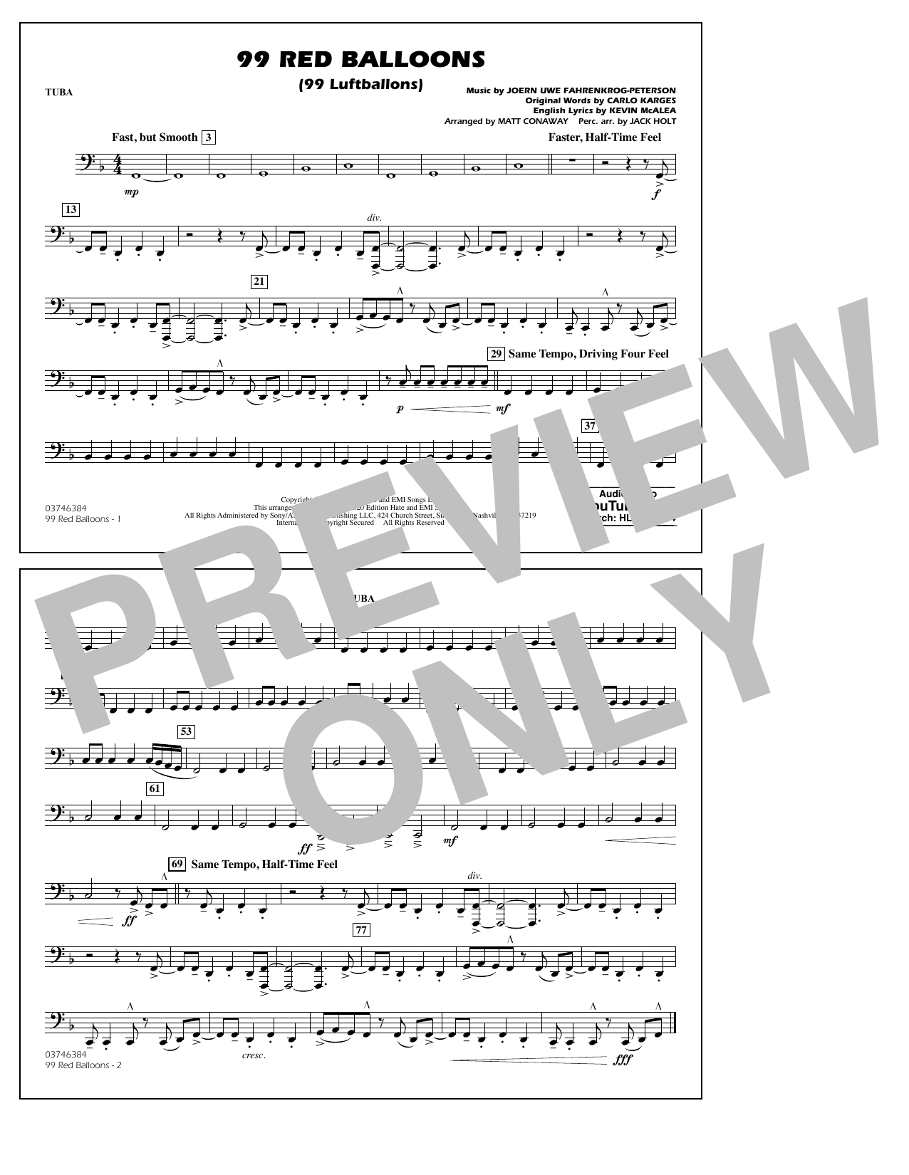 99 Red Balloons (arr. Holt and Conaway) - Tuba Sheet Music