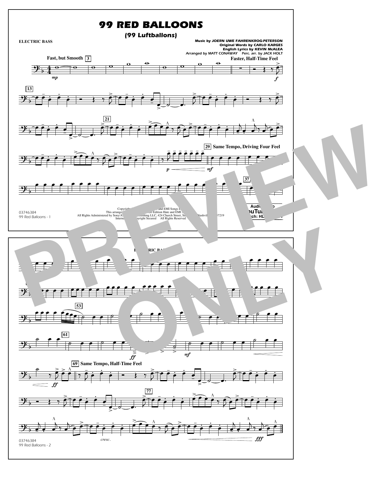 99 Red Balloons (arr. Holt and Conaway) - Electric Bass Sheet Music