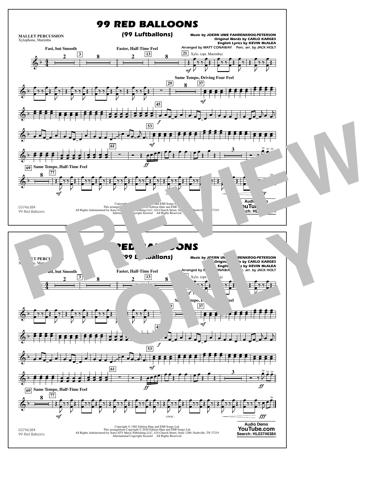 99 Red Balloons (arr. Holt and Conaway) - Mallet Percussion Sheet Music