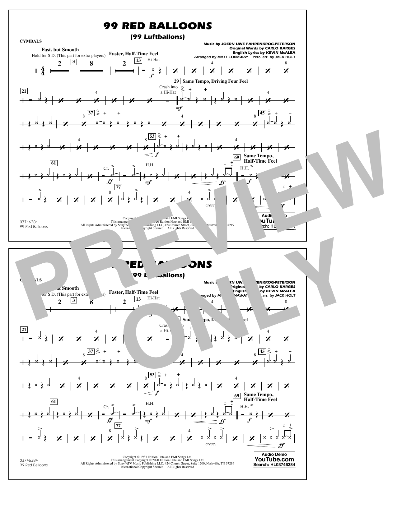 99 Red Balloons (arr. Holt and Conaway) - Cymbals Sheet Music