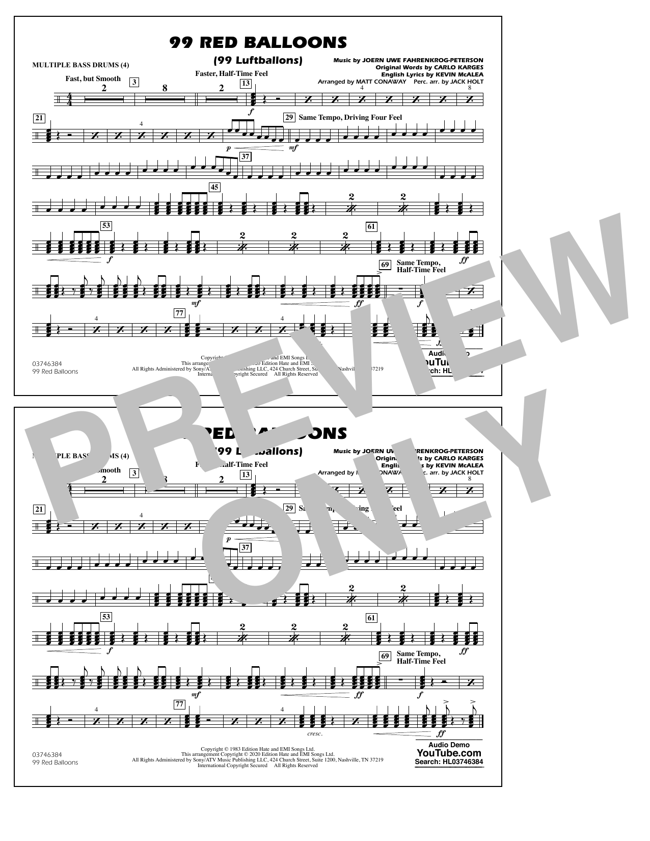 99 Red Balloons (arr. Holt and Conaway) - Multiple Bass Drums Sheet Music