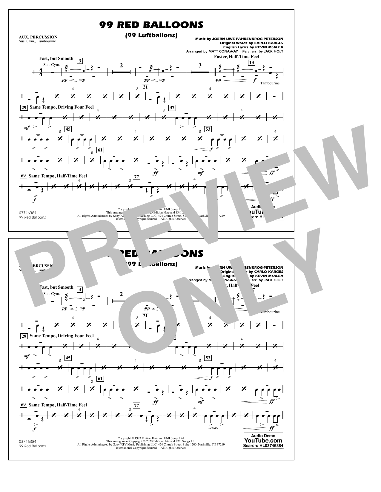 99 Red Balloons (arr. Holt and Conaway) - Aux Percussion Sheet Music