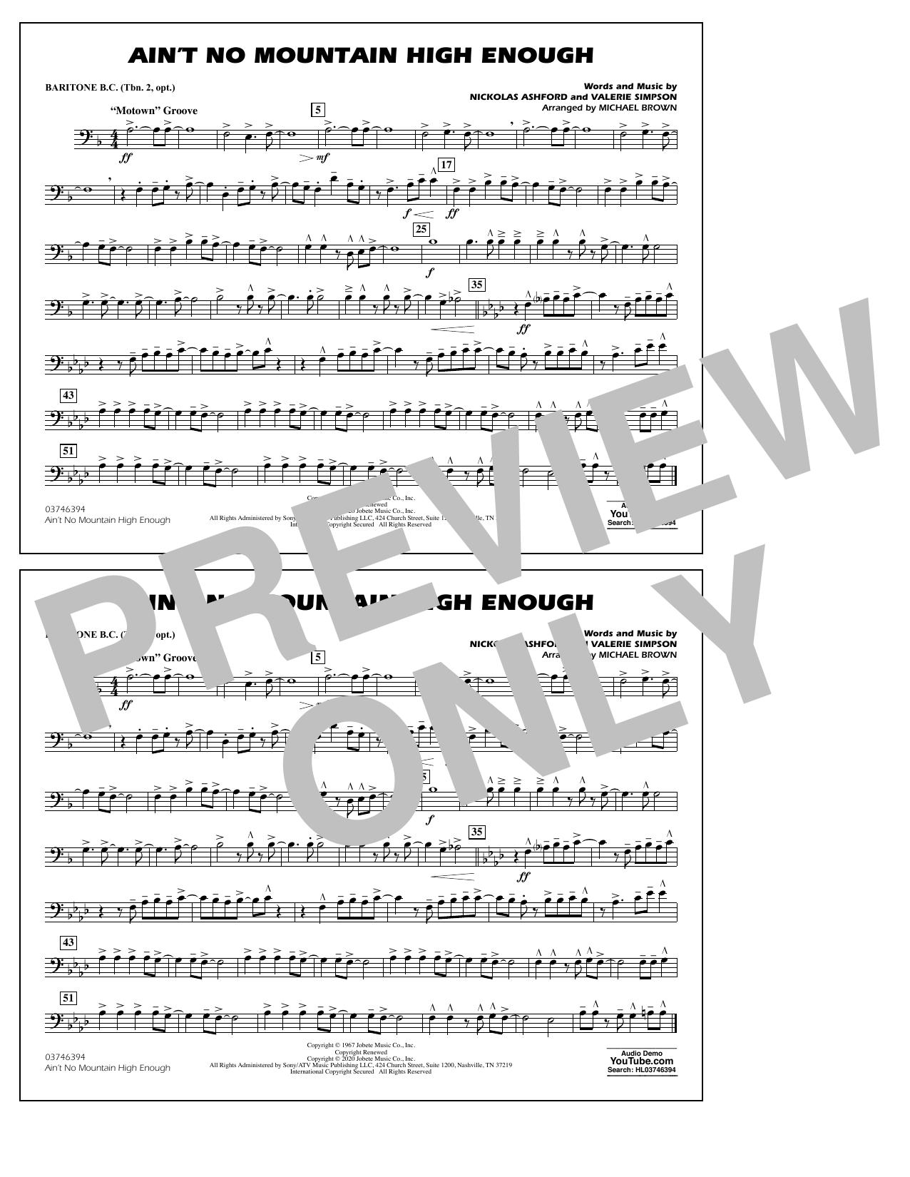 Ain't No Mountain High Enough (arr. Michael Brown) - Baritone B.C. (Opt. Tbn. 2) Sheet Music