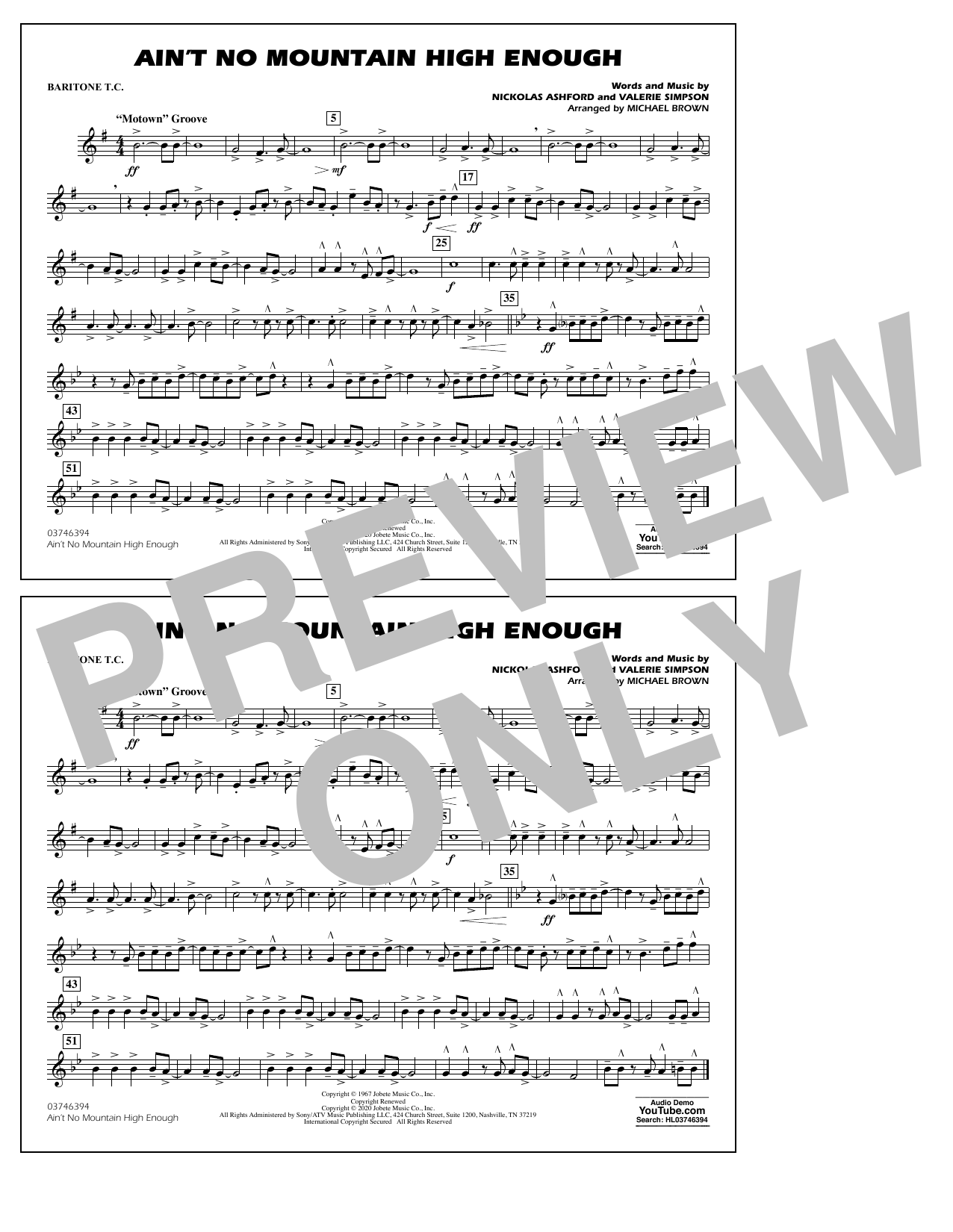 Ain't No Mountain High Enough (arr. Michael Brown) - Baritone T.C. Sheet Music