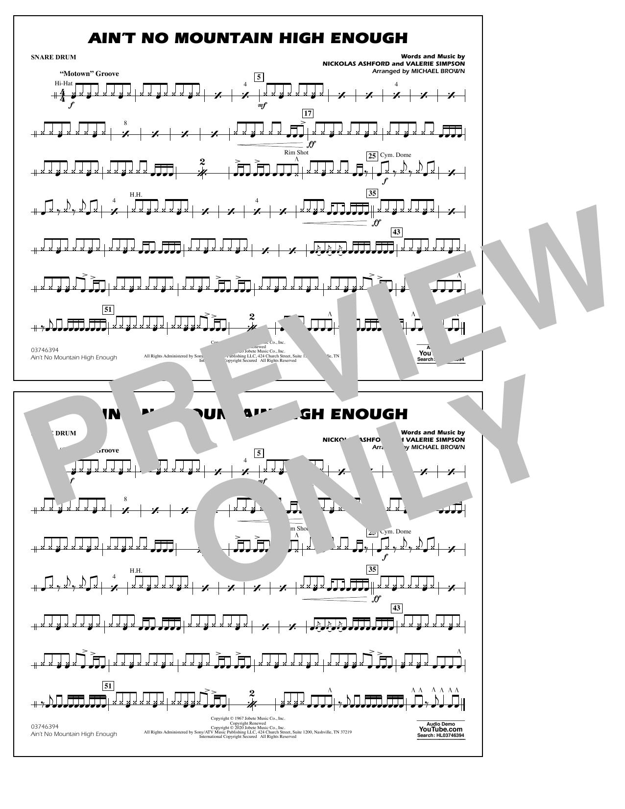 Ain't No Mountain High Enough (arr. Michael Brown) - Snare Drum Sheet Music
