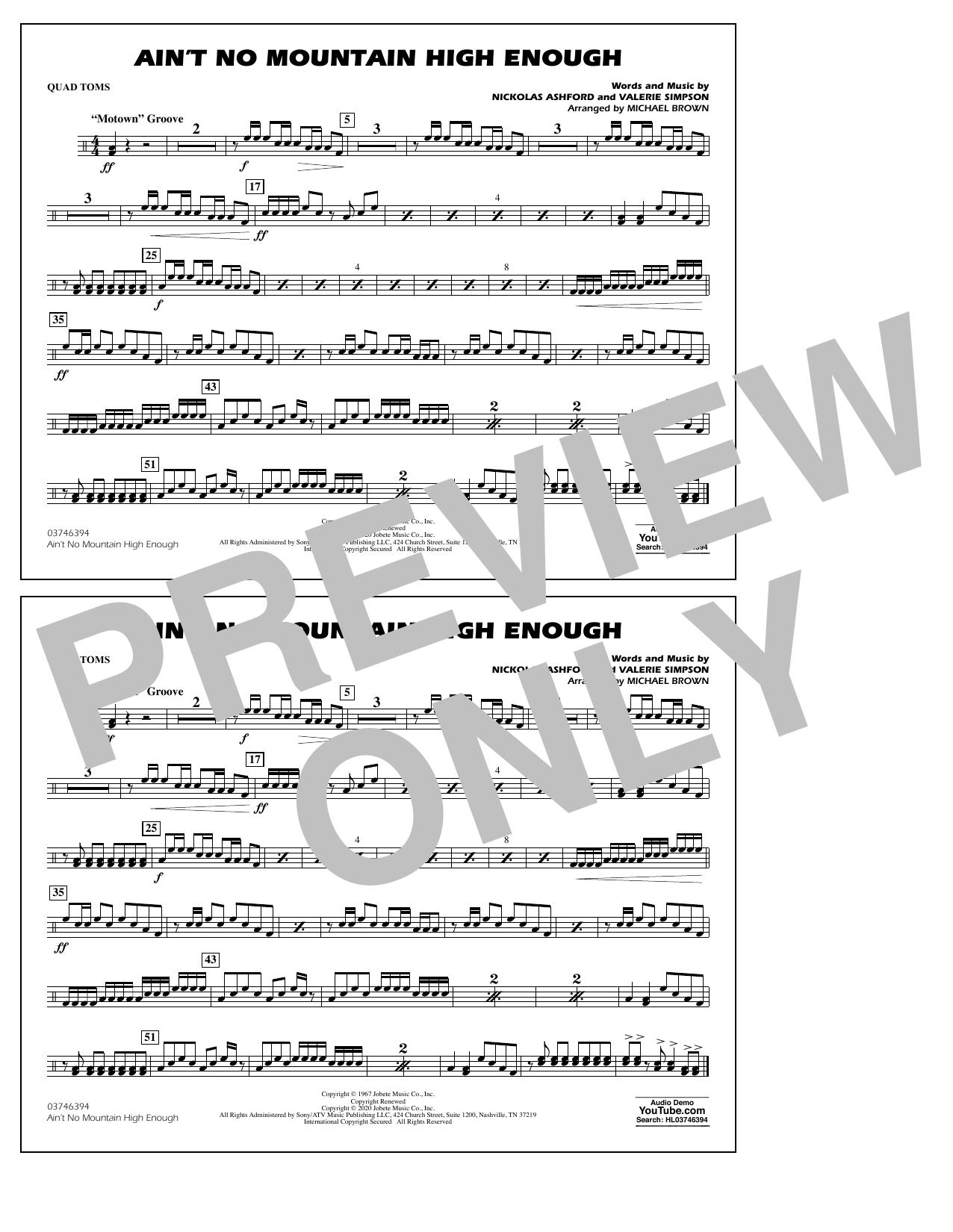 Ain't No Mountain High Enough (arr. Michael Brown) - Quad Toms Sheet Music
