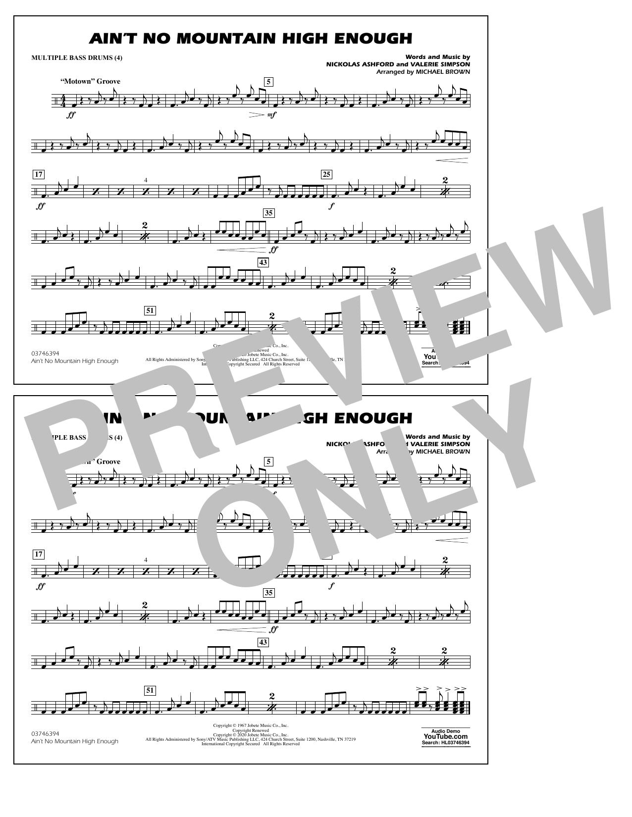 Ain't No Mountain High Enough (arr. Michael Brown) - Multiple Bass Drums Sheet Music