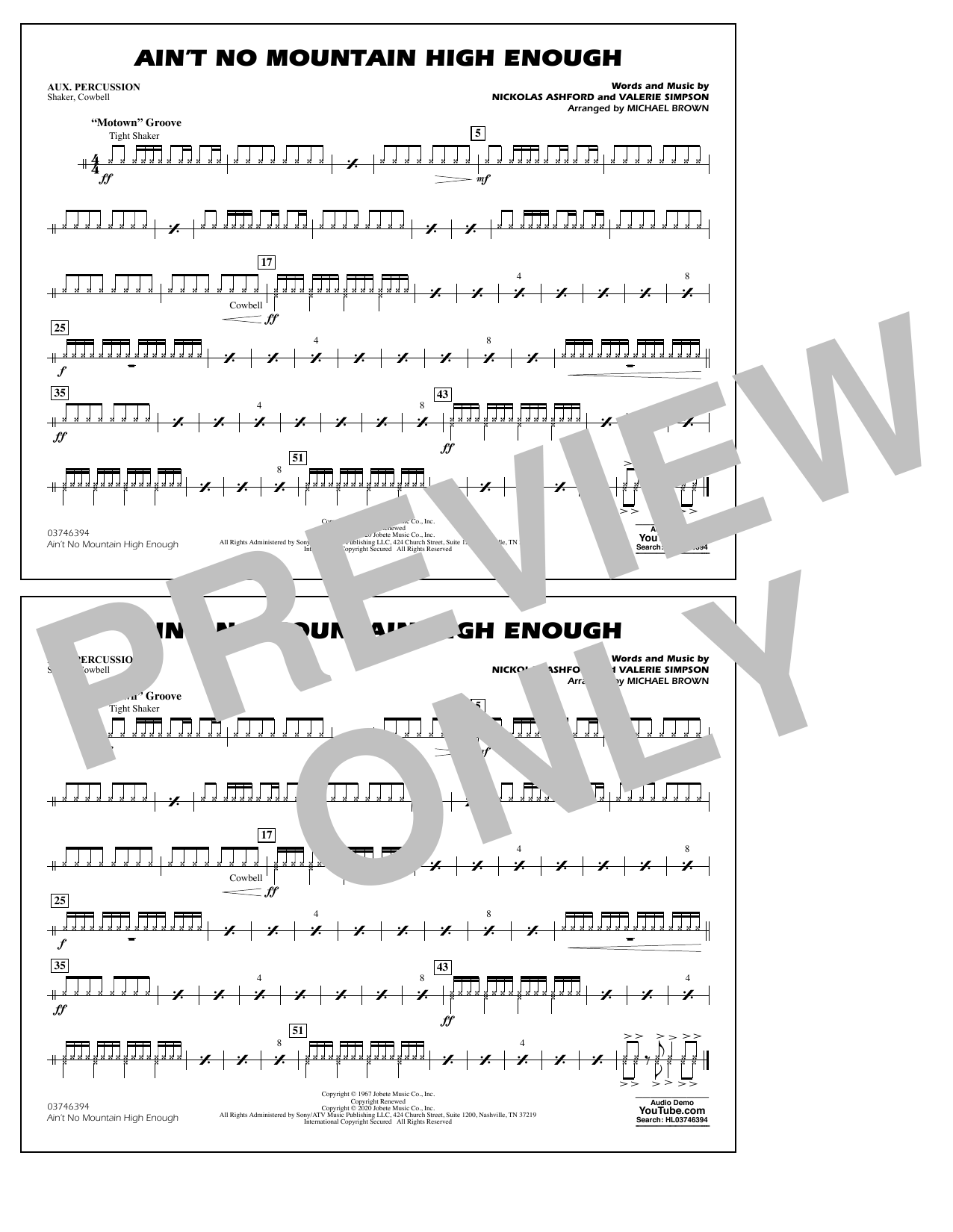 Ain't No Mountain High Enough (arr. Michael Brown) - Aux Percussion Sheet Music