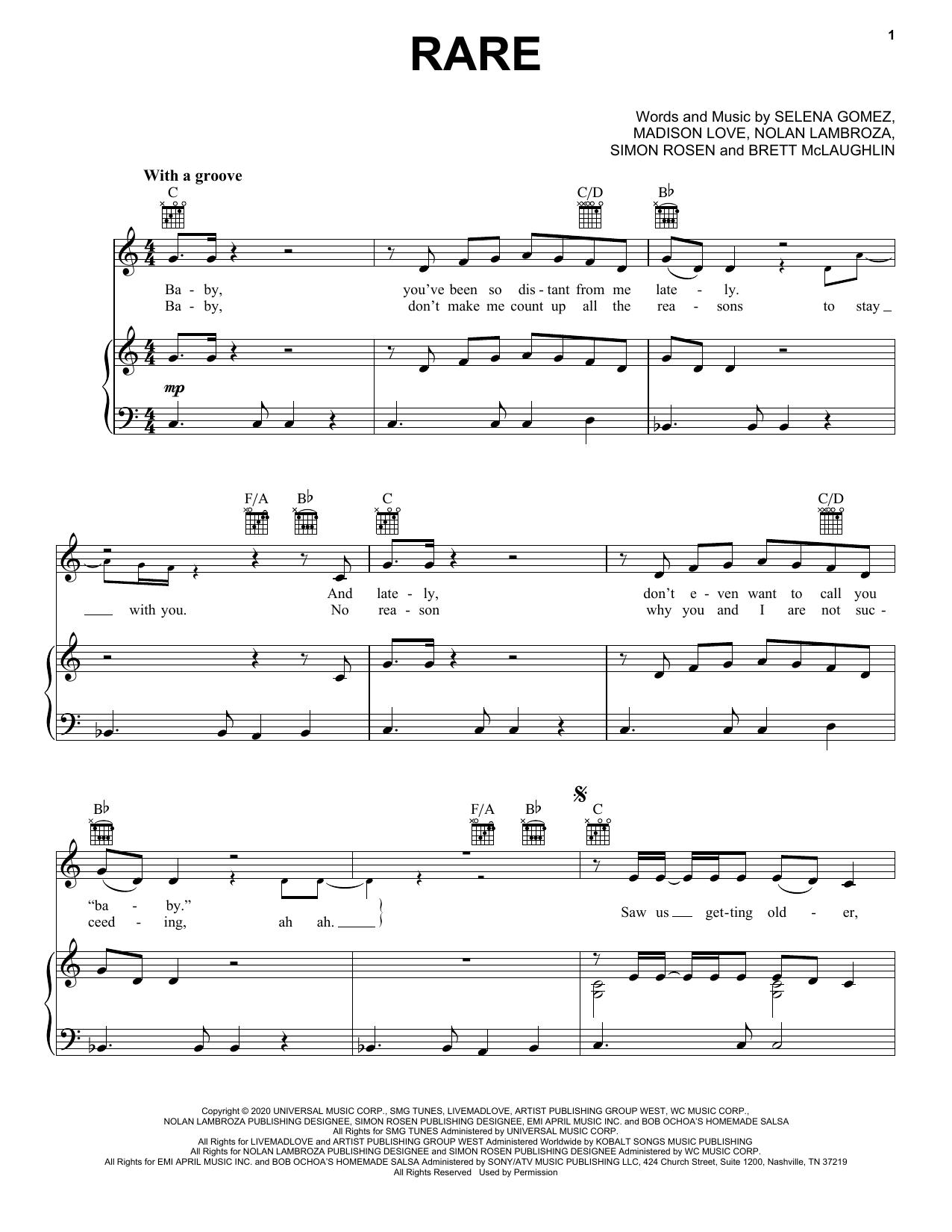 Rare (Piano, Vocal & Guitar (Right-Hand Melody))
