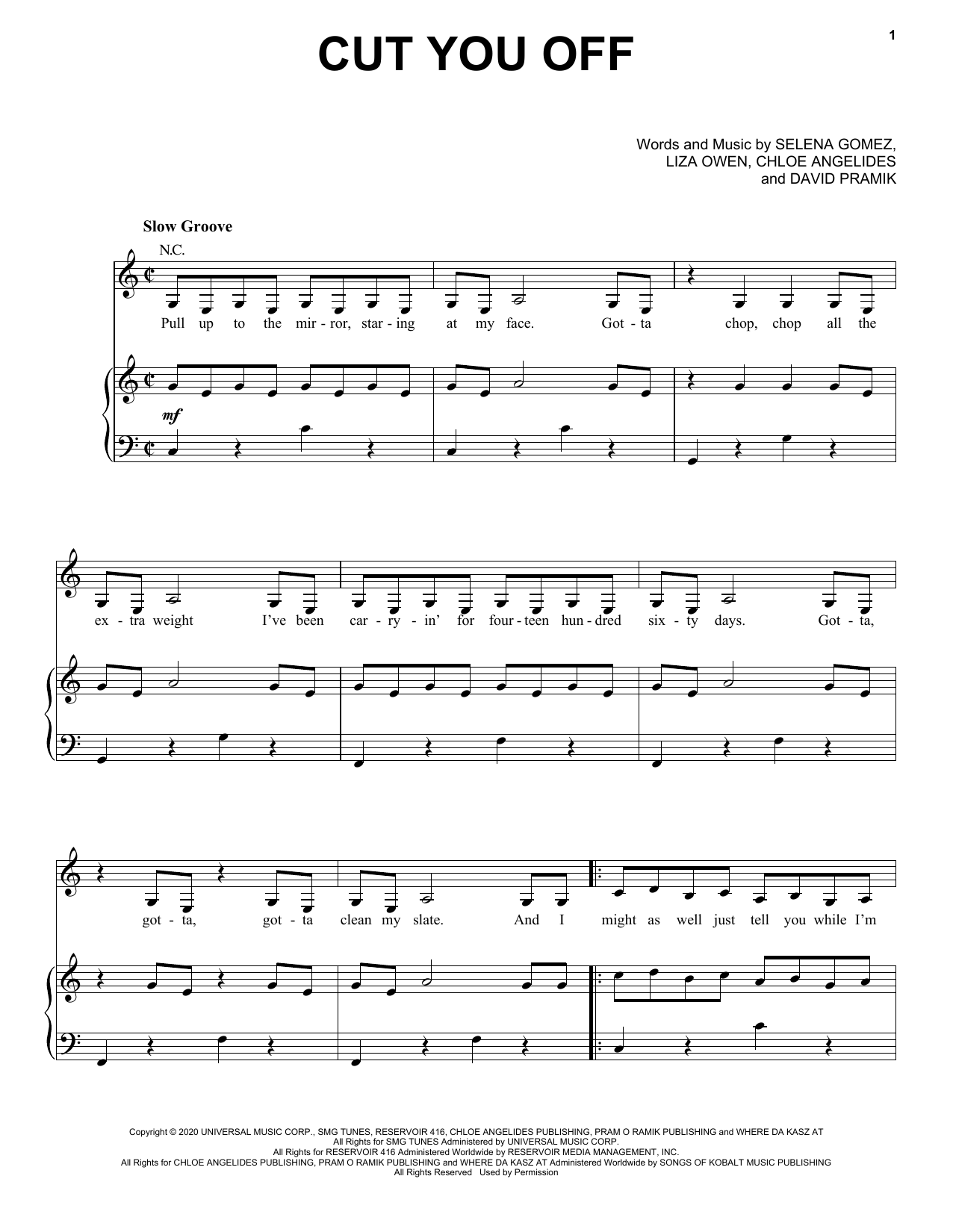 Cut You Off (Piano, Vocal & Guitar (Right-Hand Melody))