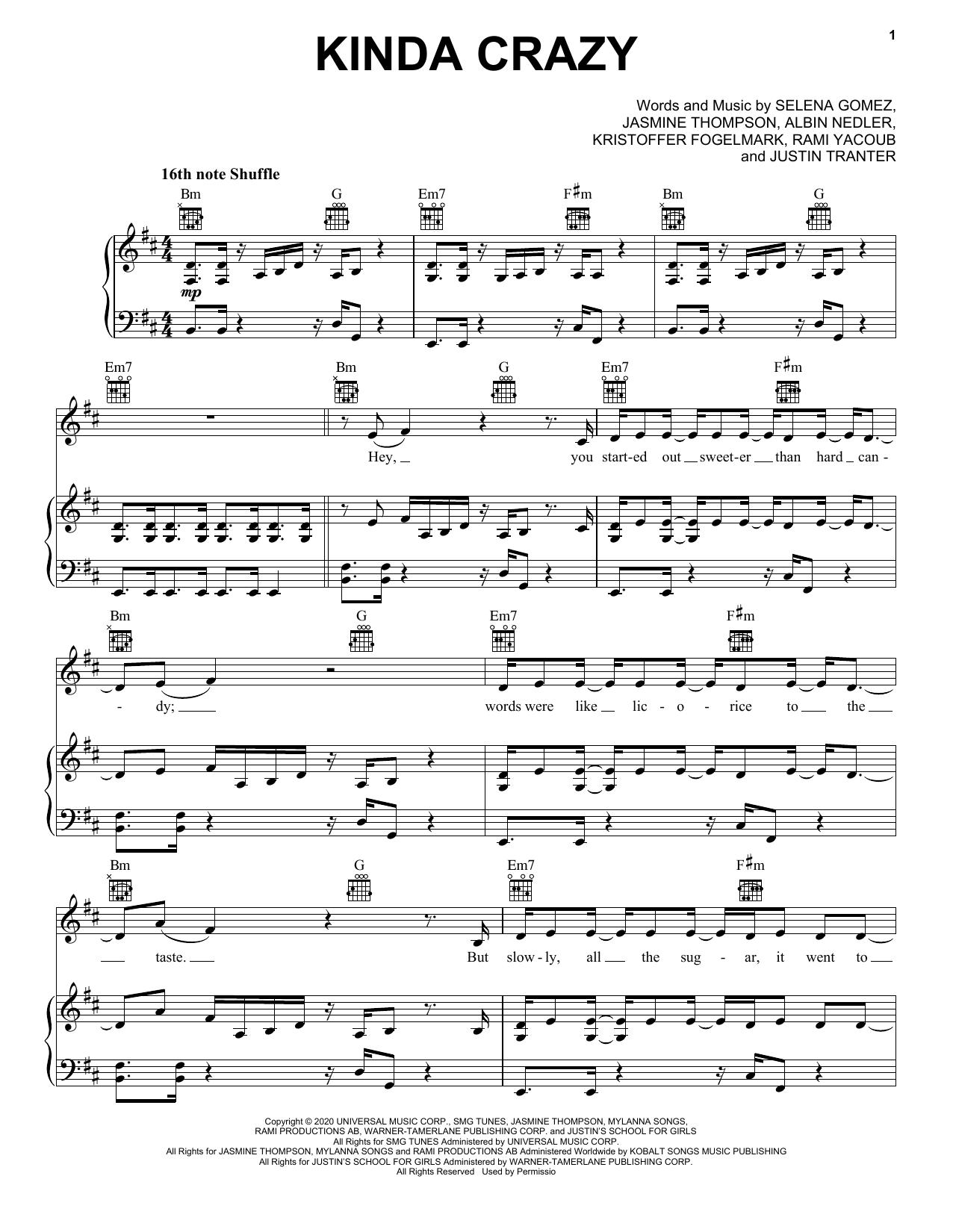 Kinda Crazy (Piano, Vocal & Guitar (Right-Hand Melody))
