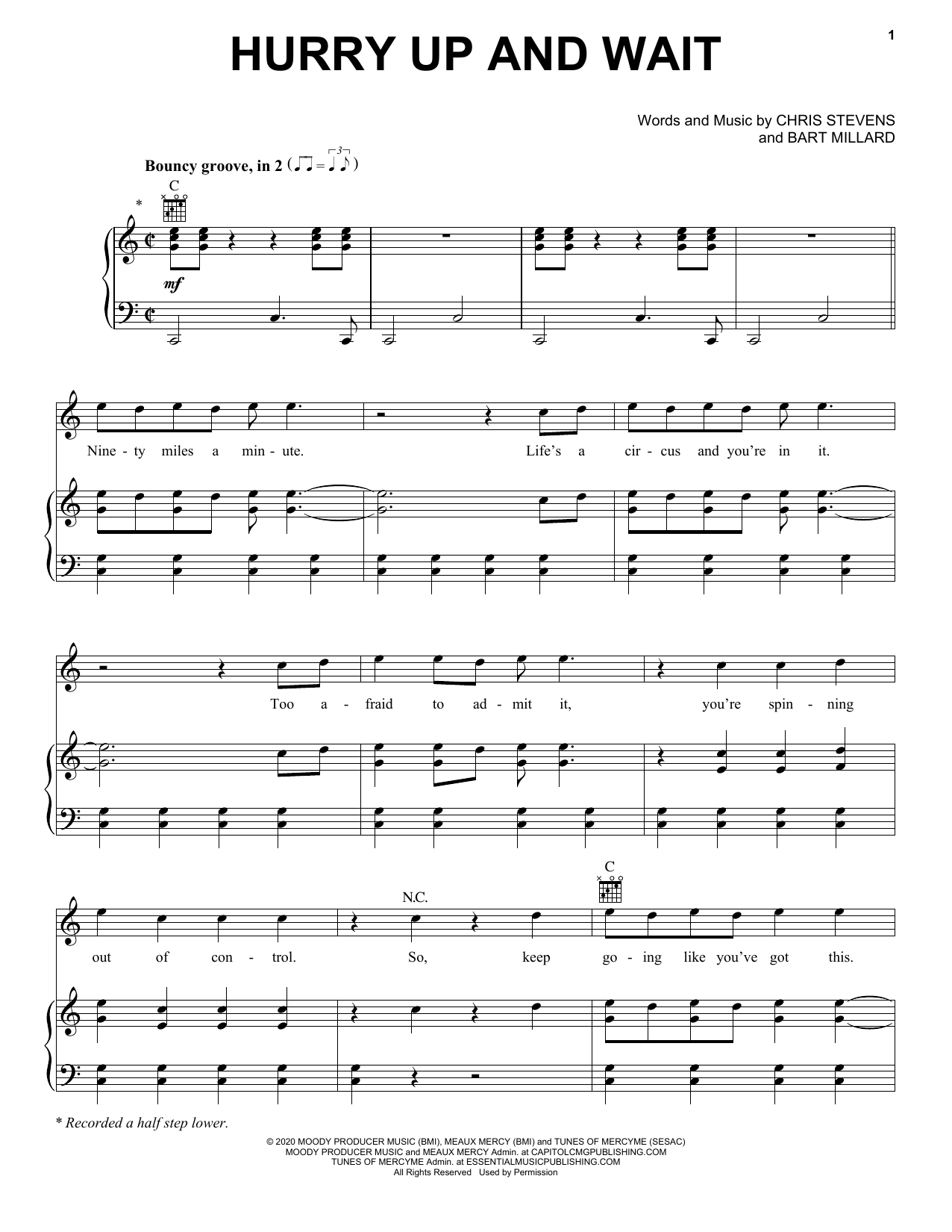 Hurry Up And Wait (Piano, Vocal & Guitar (Right-Hand Melody))