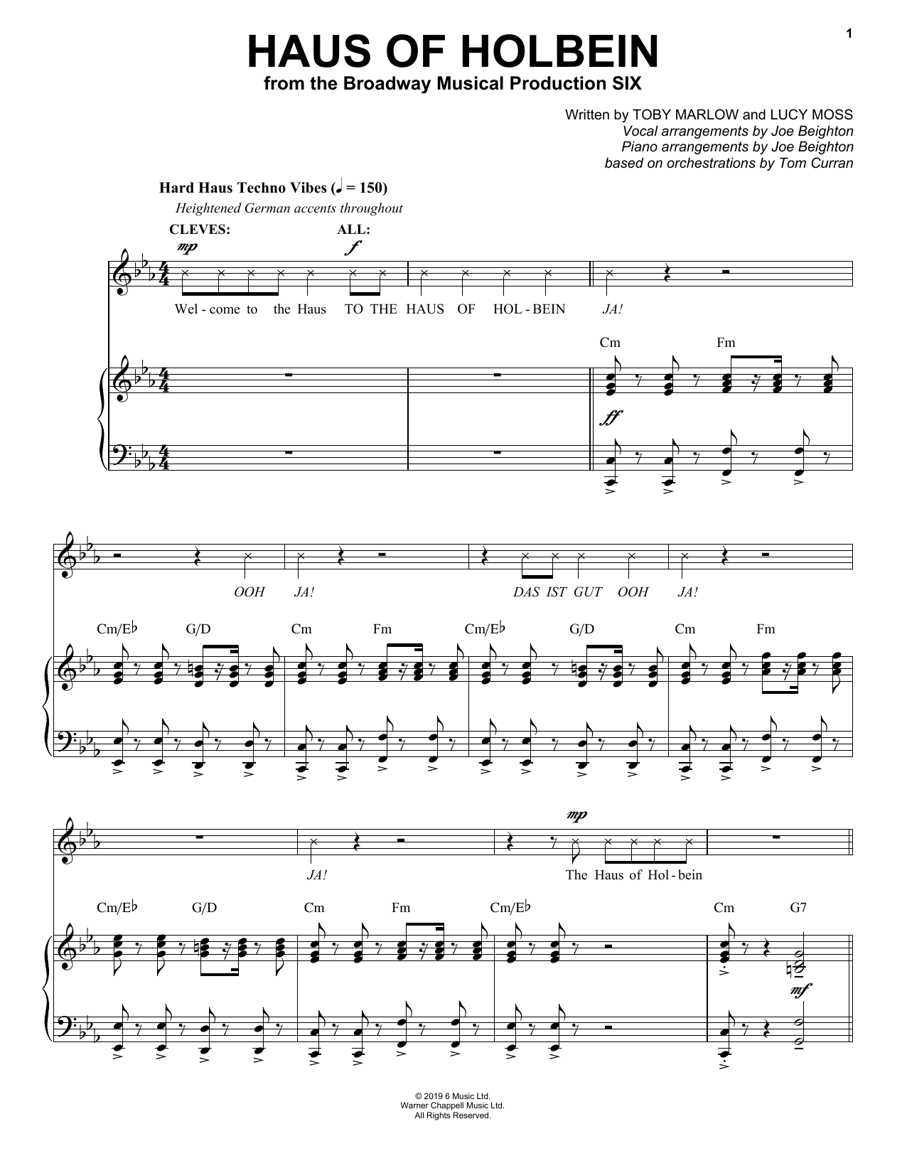 Haus Of Holbein (from Six: The Musical) Sheet Music
