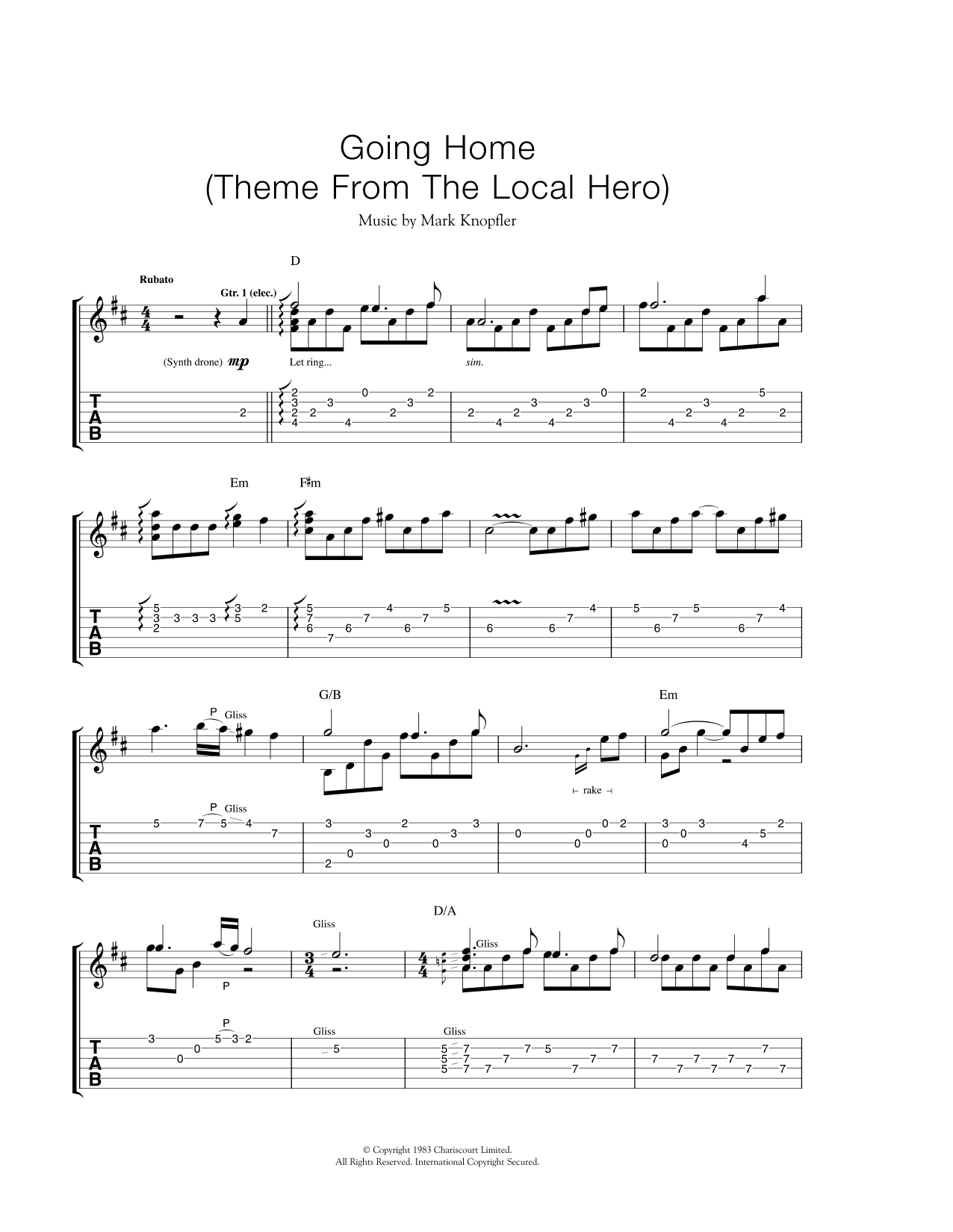 """Going Home (Theme From """"Local Hero"""") Sheet Music"""