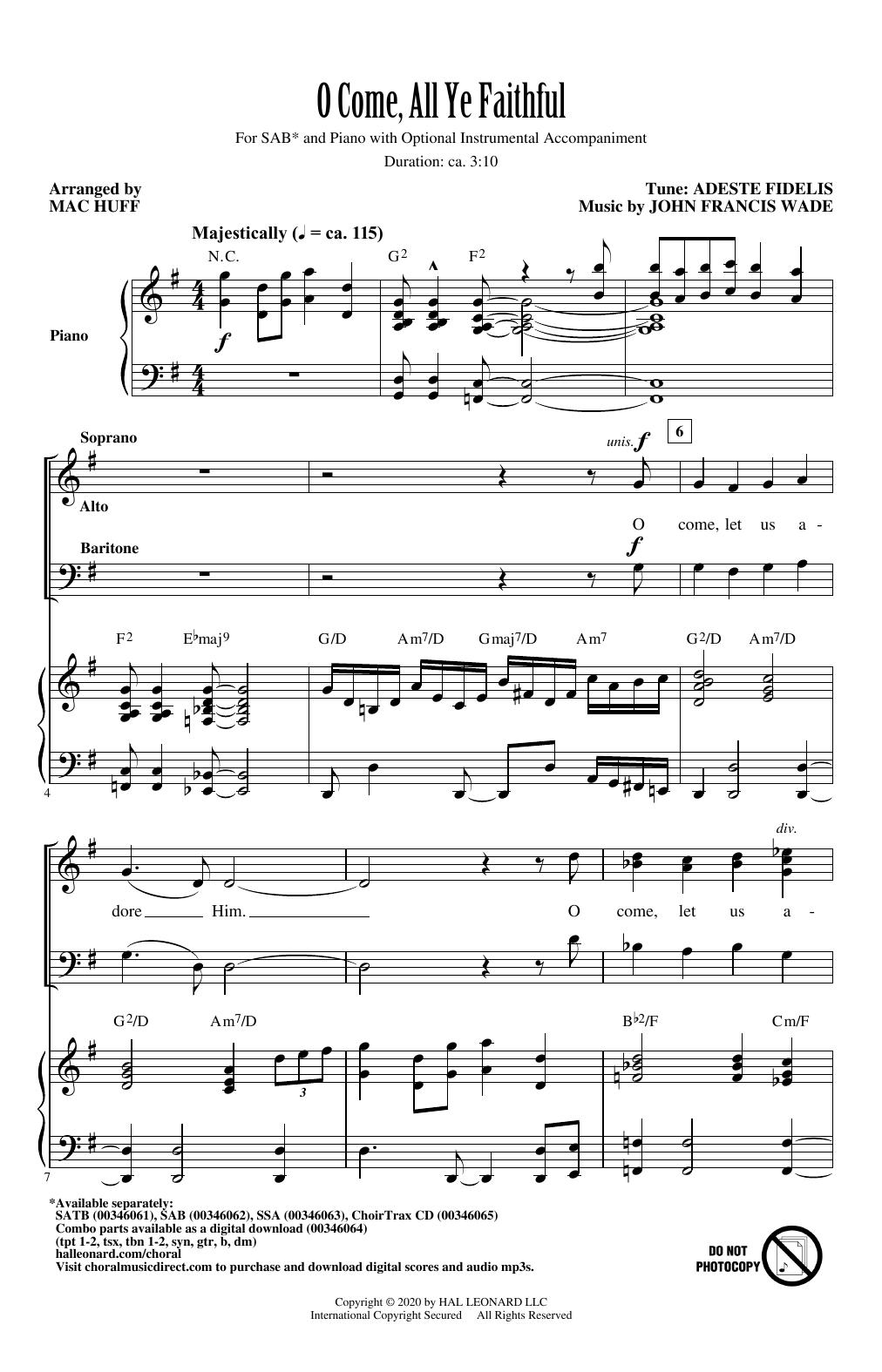 O Come, All Ye Faithful (arr. Mac Huff) Sheet Music
