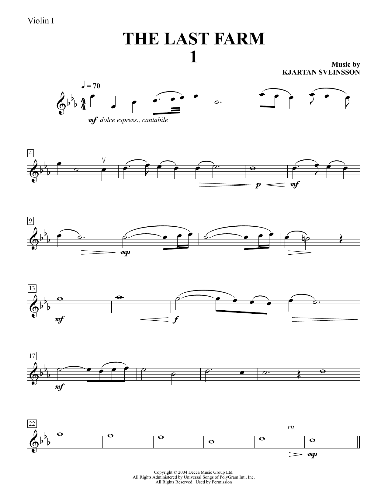 Five String Quartets from The Last Farm - Violin 1 Sheet Music