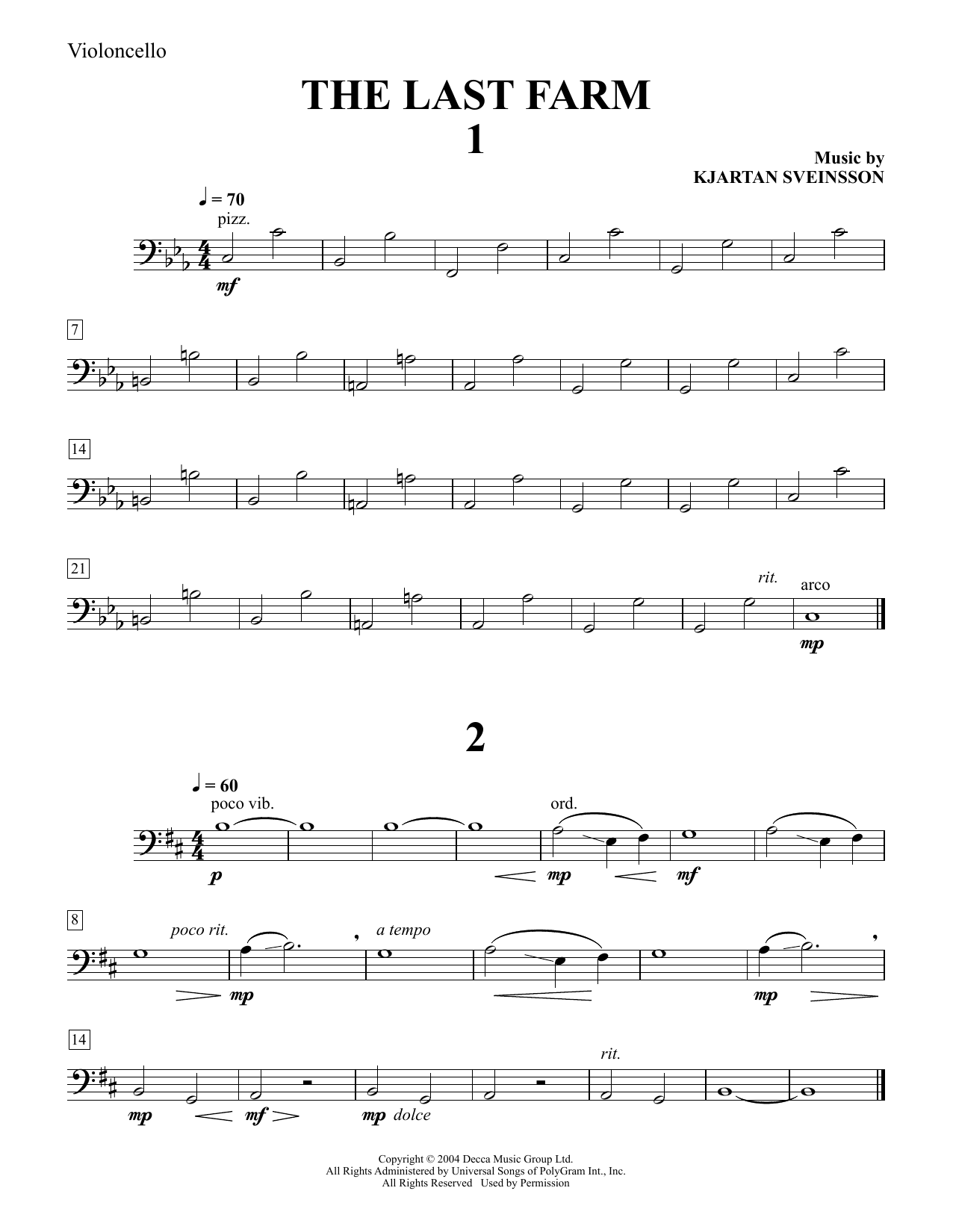 Five String Quartets from The Last Farm - Cello Sheet Music