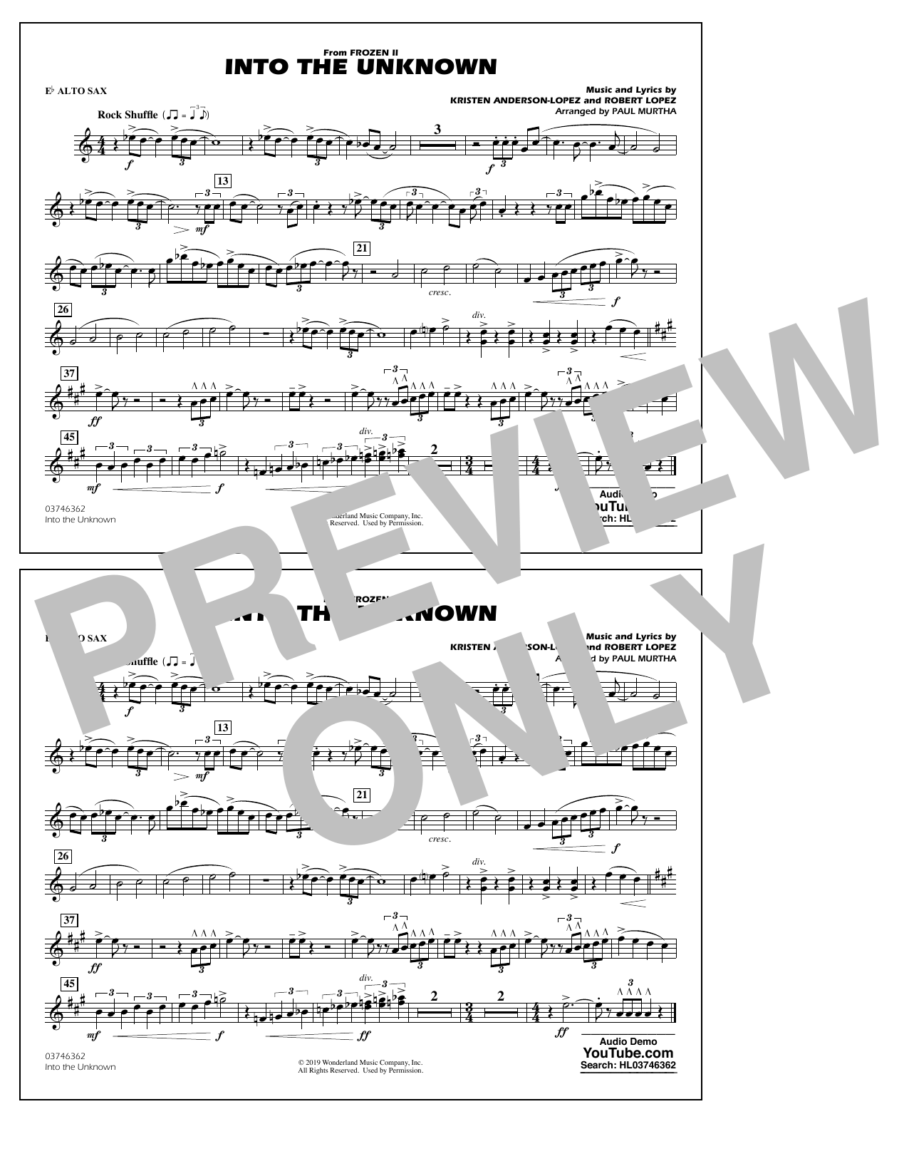 Into the Unknown (from Disney's Frozen 2) (arr. Paul Murtha) - Eb Alto Sax Sheet Music
