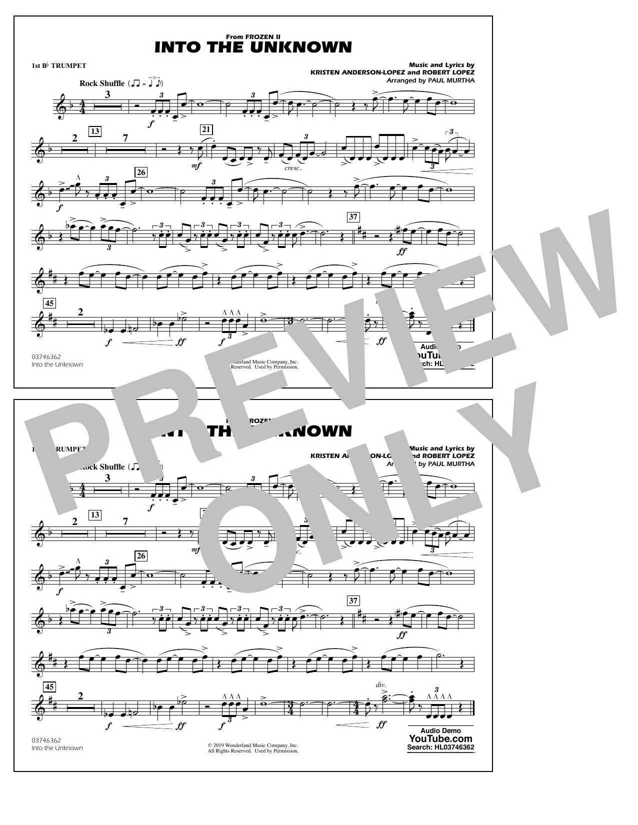 Into the Unknown (from Disney's Frozen 2) (arr. Paul Murtha) - 1st Bb Trumpet Sheet Music