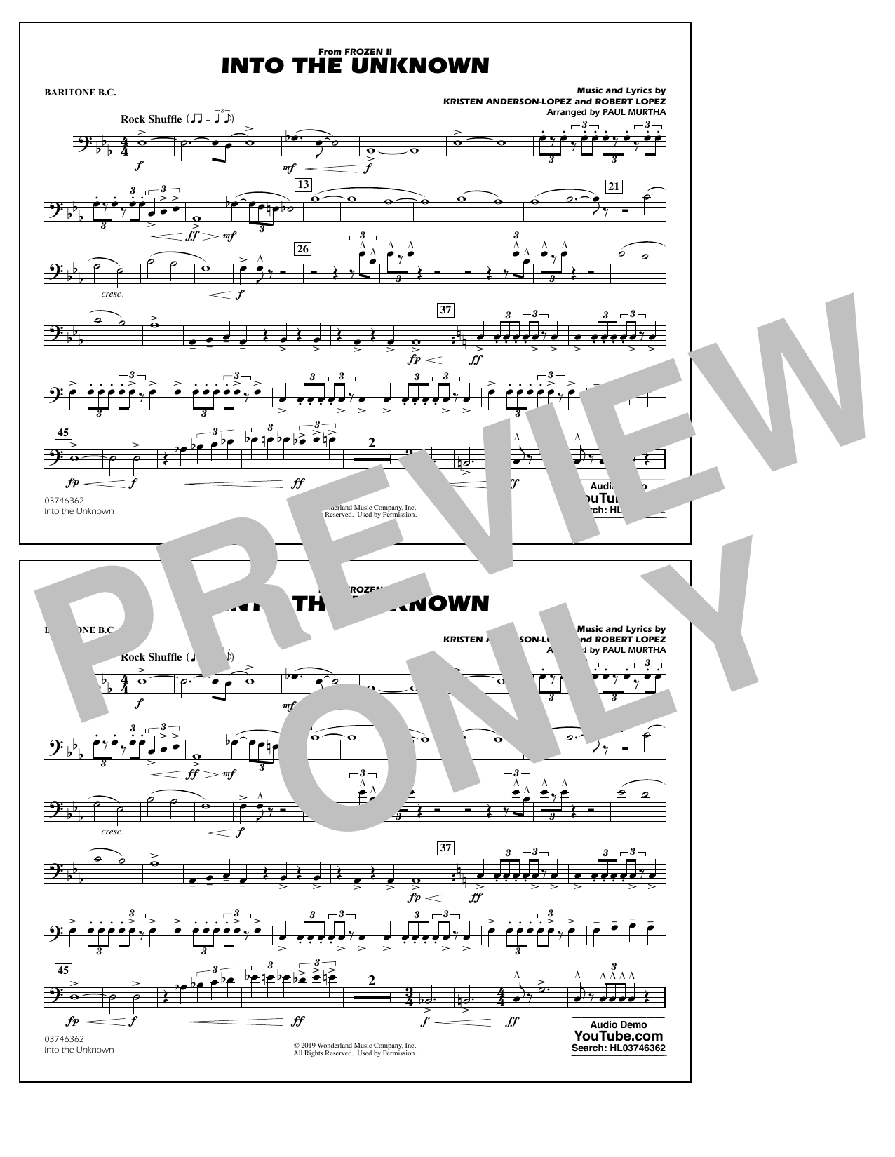 Into the Unknown (from Disney's Frozen 2) (arr. Paul Murtha) - Baritone B.C. Sheet Music