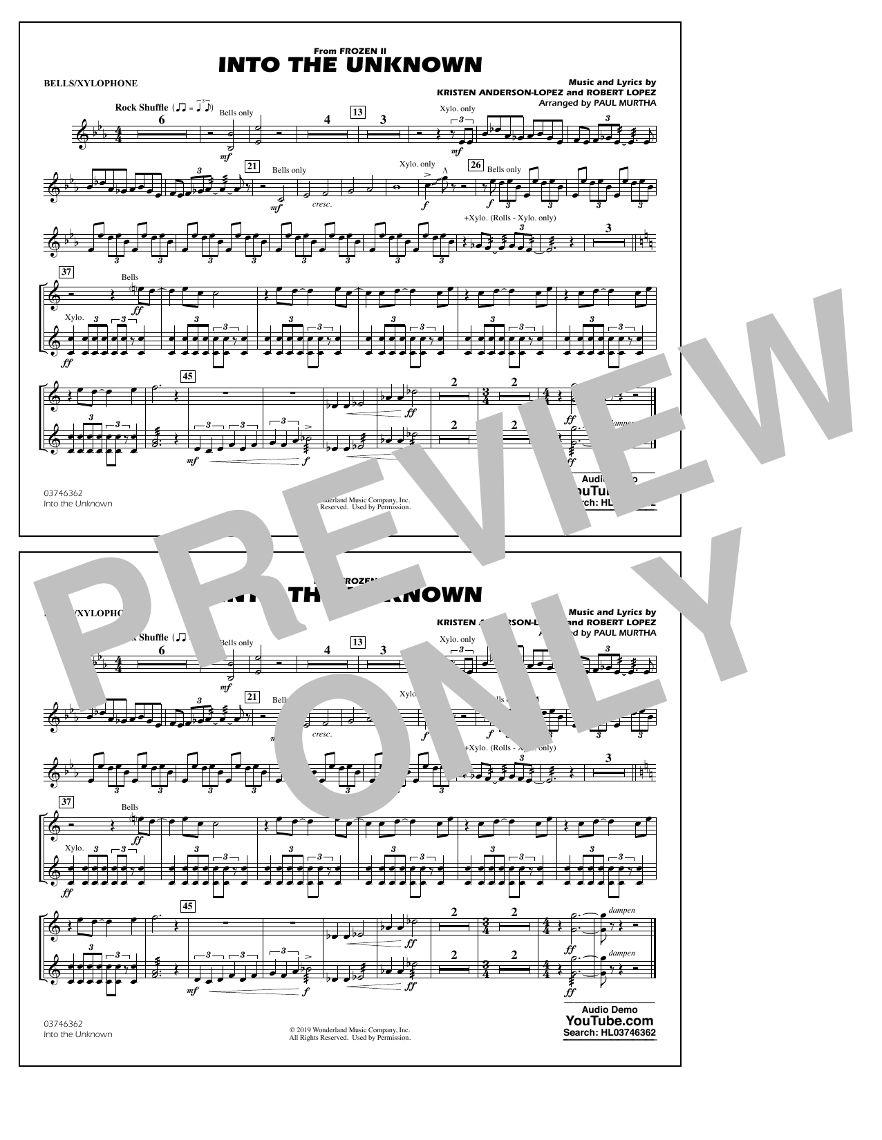 Into the Unknown (from Disney's Frozen 2) (arr. Paul Murtha) - Bells/Xylophone Sheet Music