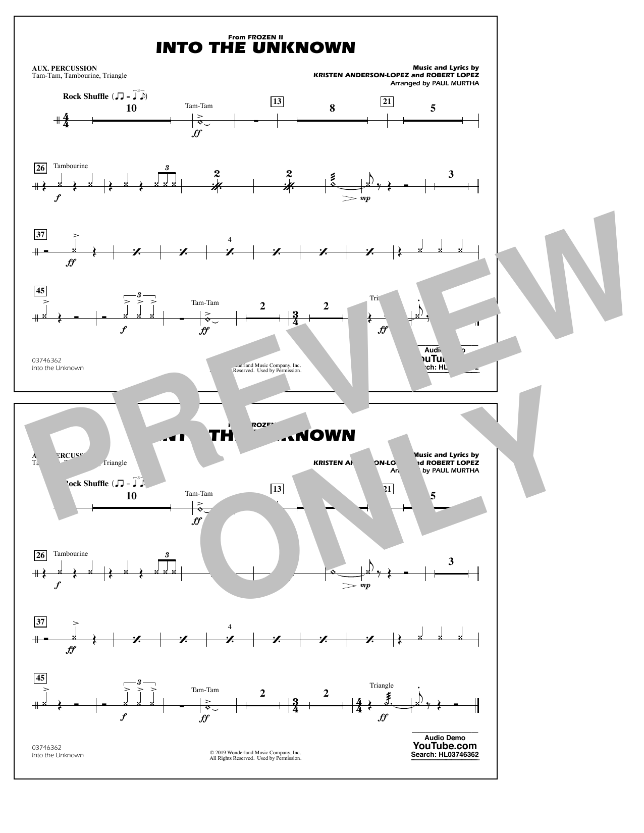 Into the Unknown (from Disney's Frozen 2) (arr. Paul Murtha) - Aux Percussion Sheet Music