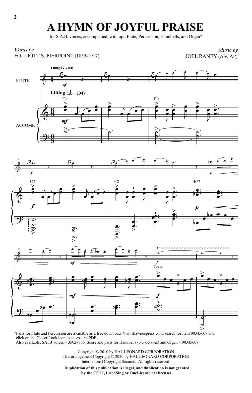 Partition chorale A Hymn Of Joyful Praise de Folliott Pierpoint and Joel Raney - SAB