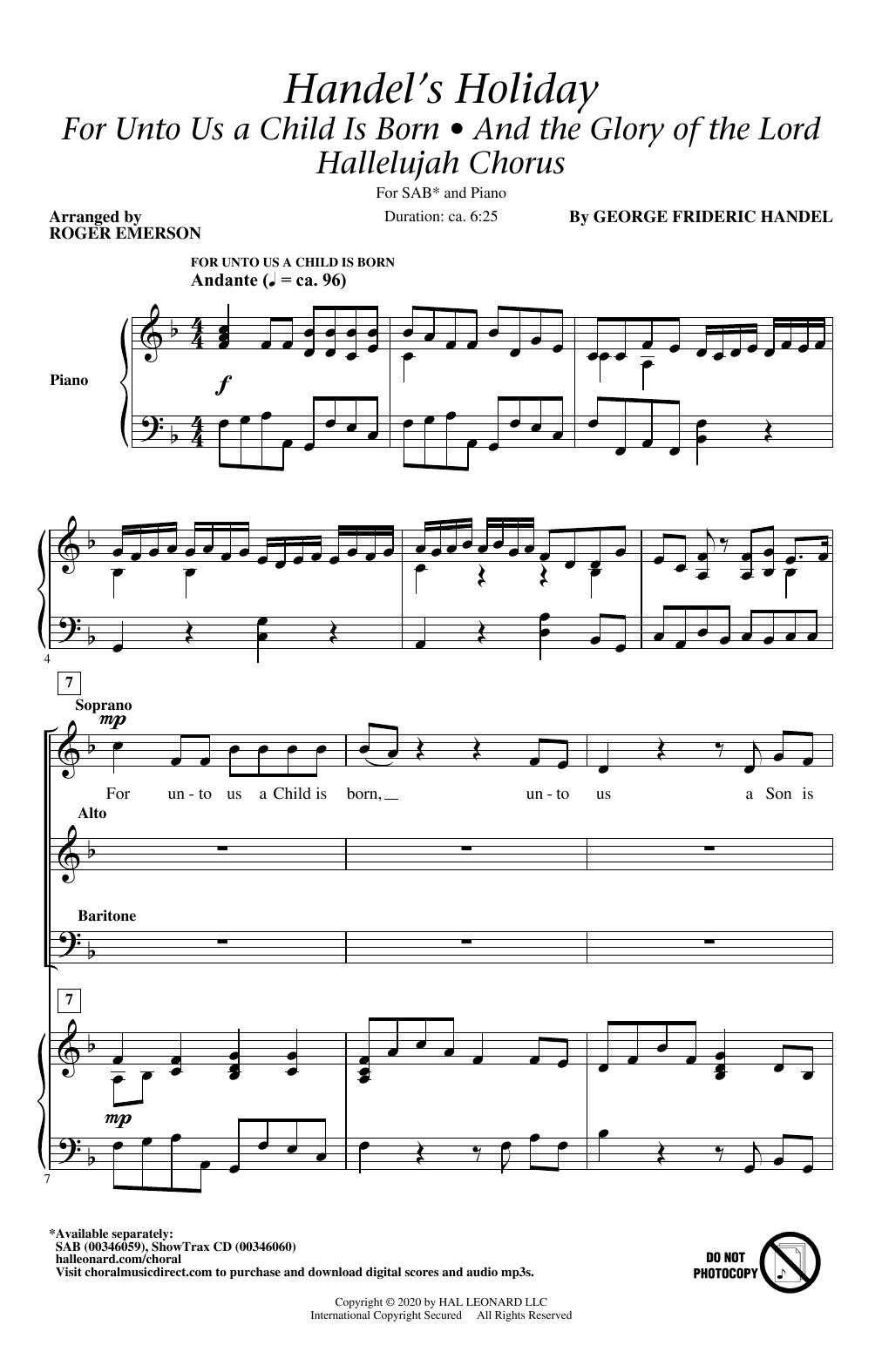 Handel's Holiday (arr. Roger Emerson) Sheet Music