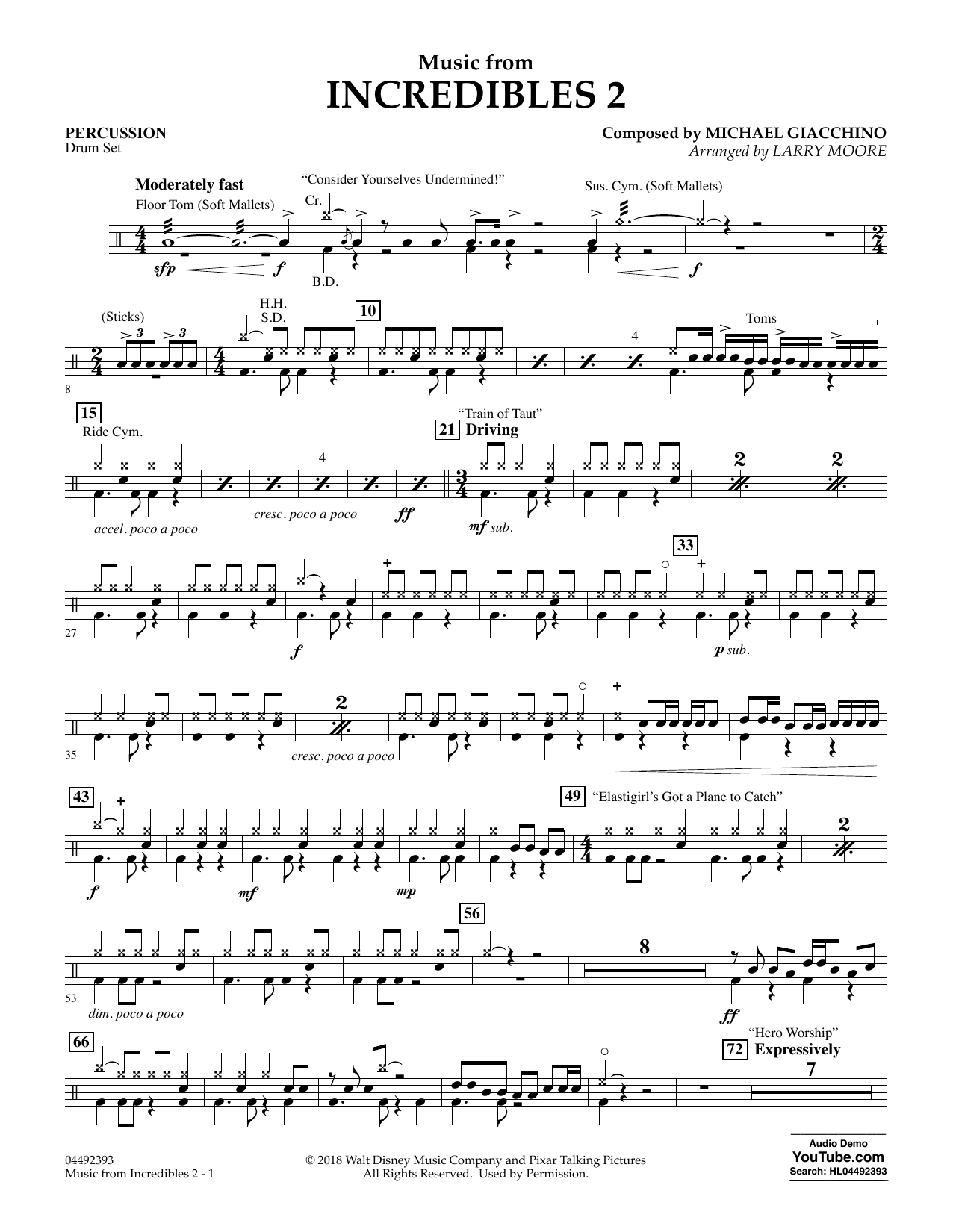 Music from Incredibles 2 (arr. Larry Moore) - Percussion Sheet Music