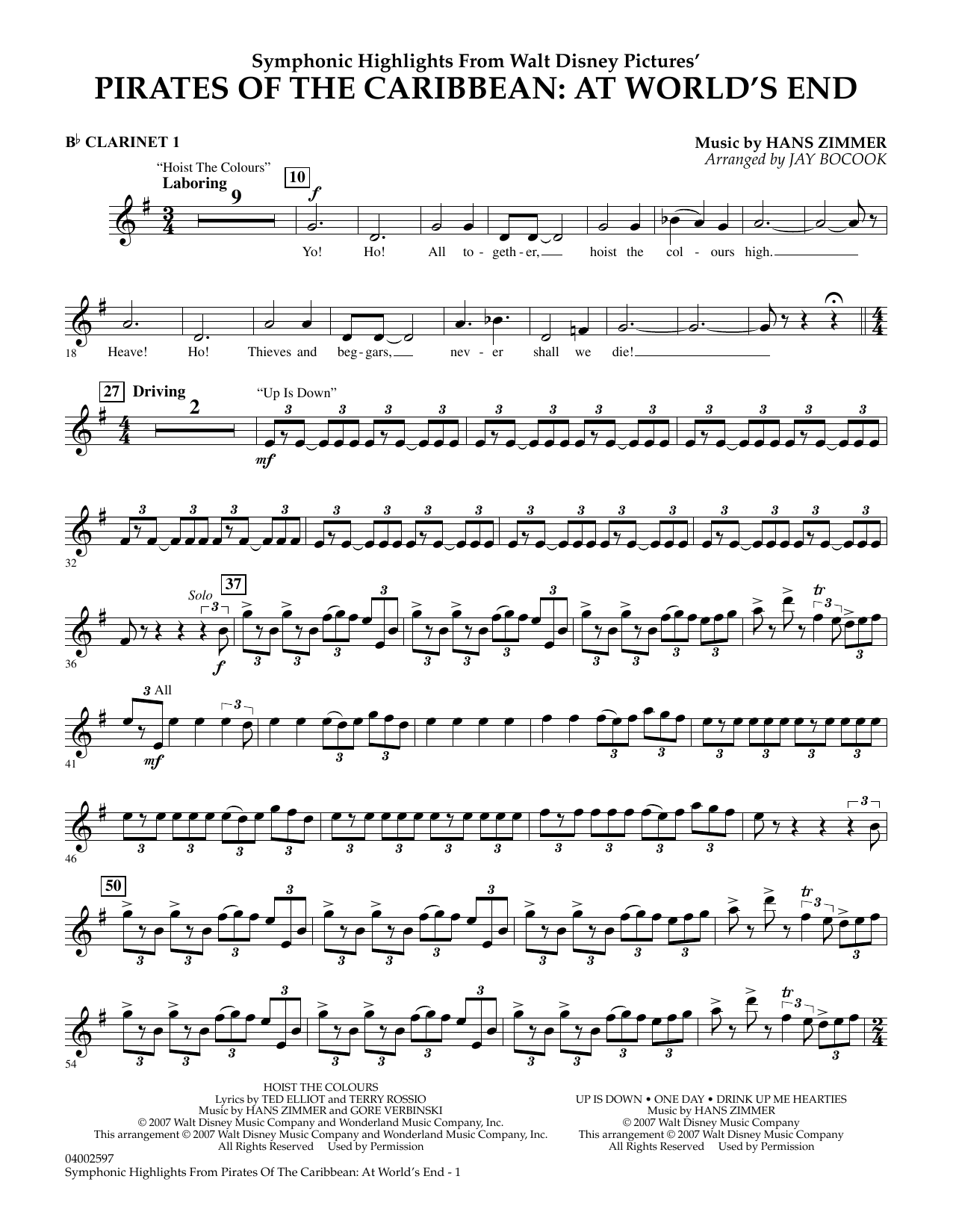 Highlights from Pirates of the Caribbean: At World's End (arr. Jay Bocook) - Bb Clarinet 1 Sheet Music