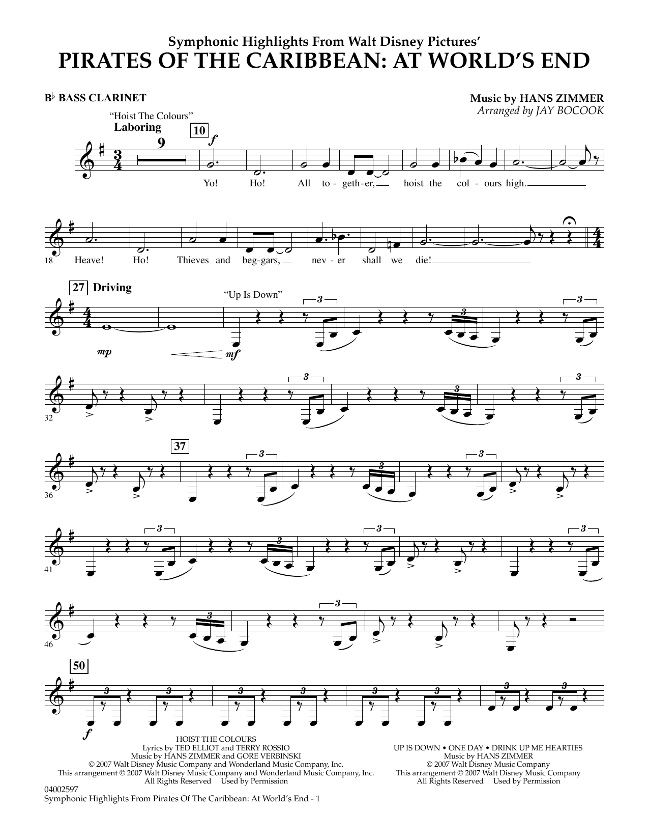 Highlights from Pirates of the Caribbean: At World's End (arr. Jay Bocook) - Bb Bass Clarinet Sheet Music