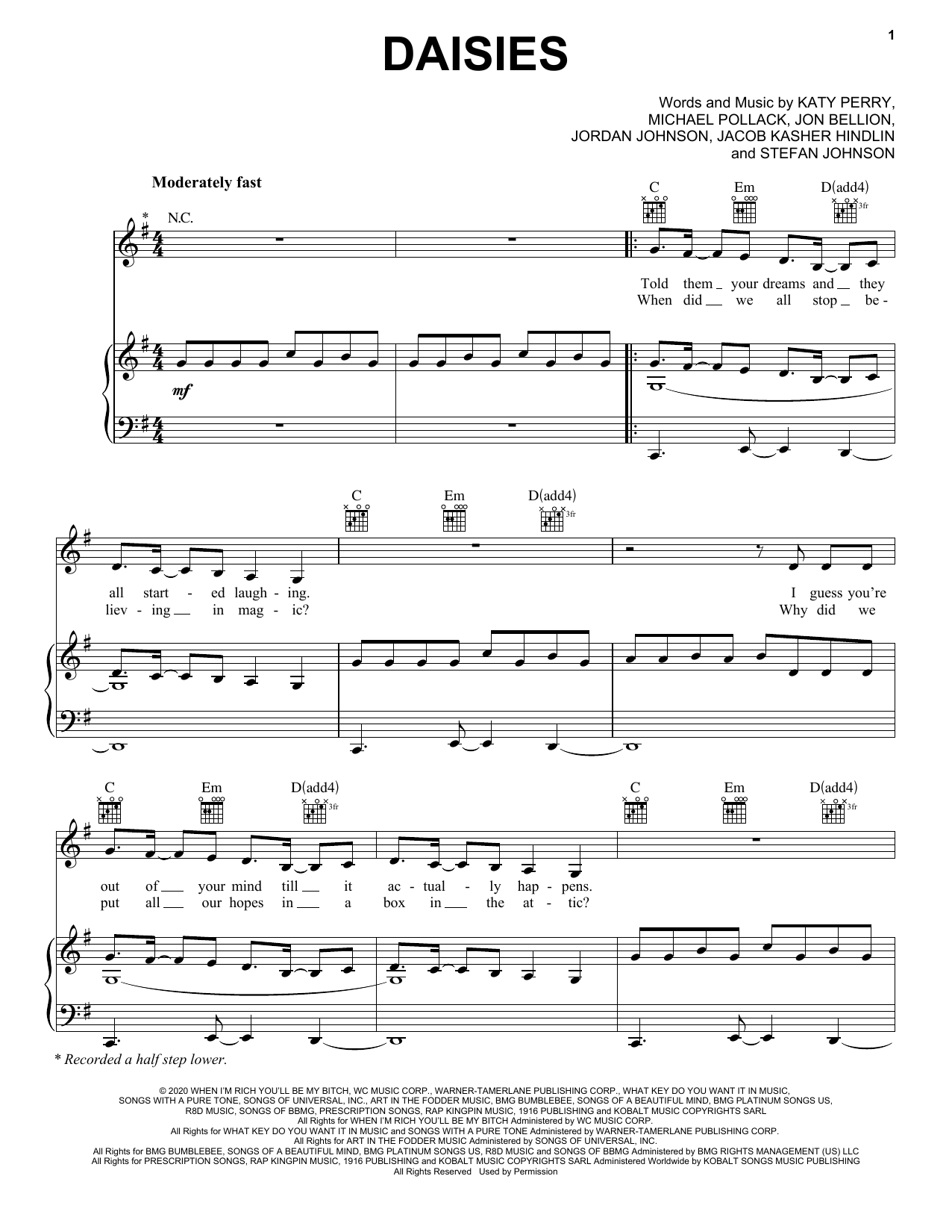 Daisies (Piano, Vocal & Guitar (Right-Hand Melody))