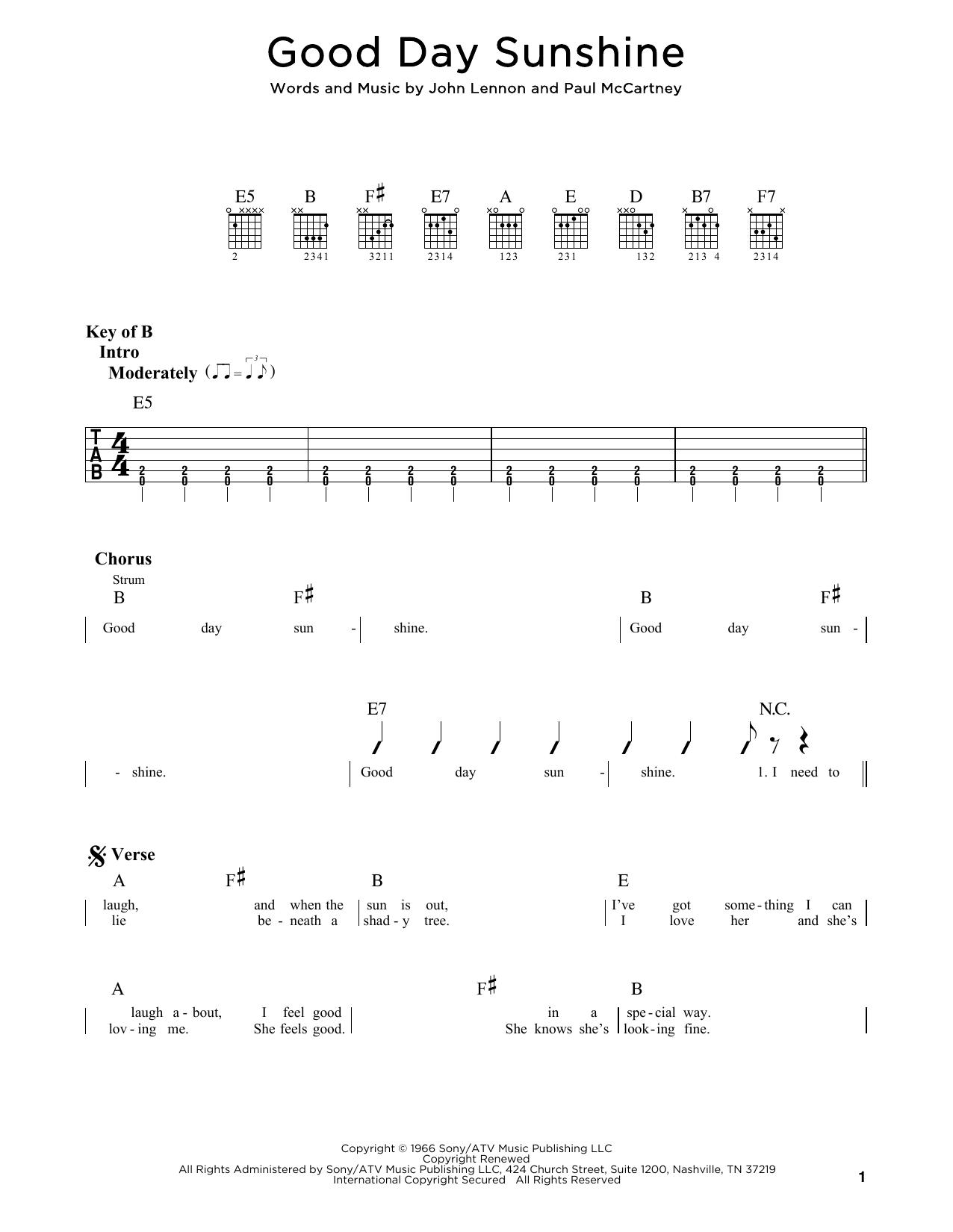 Good Day Sunshine (Guitar Rhythm Tab)