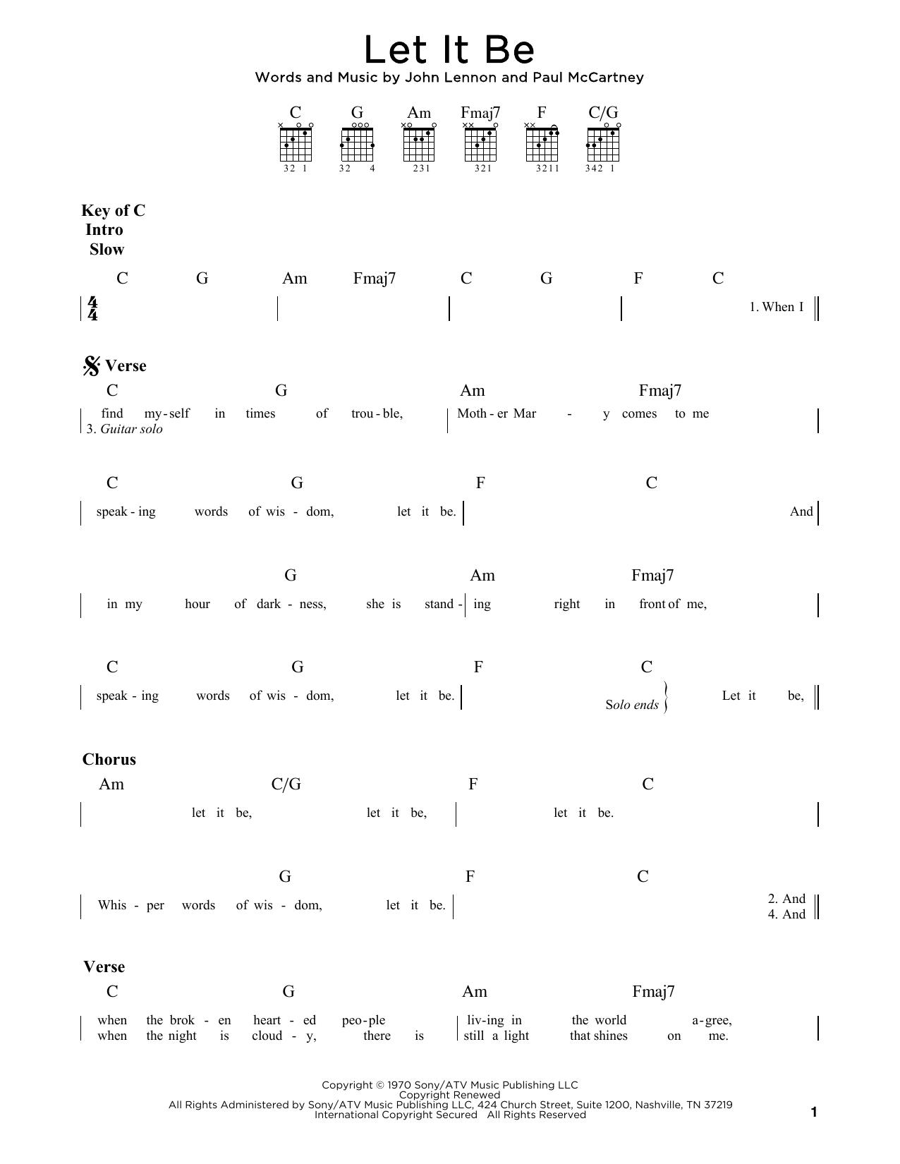 Let It Be (Guitar Rhythm Tab)
