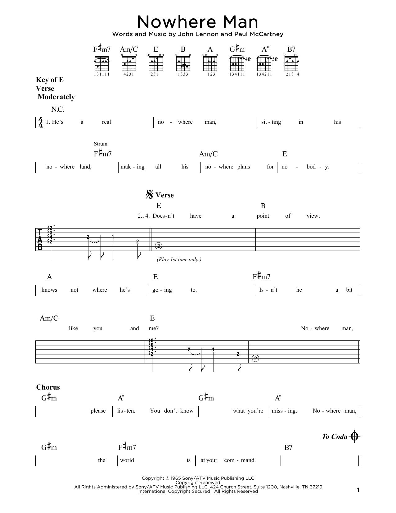 Nowhere Man (Guitar Rhythm Tab)