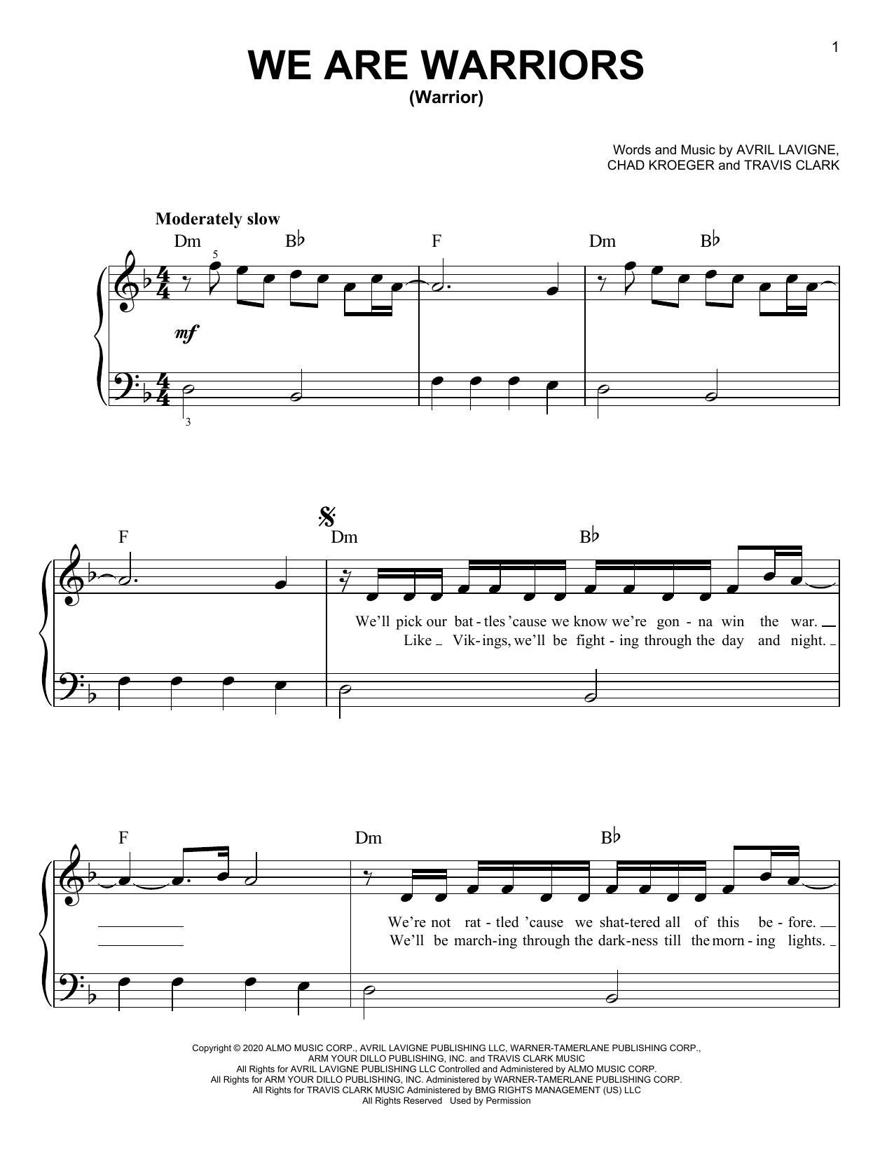 We Are Warriors (Warrior) (Easy Piano)