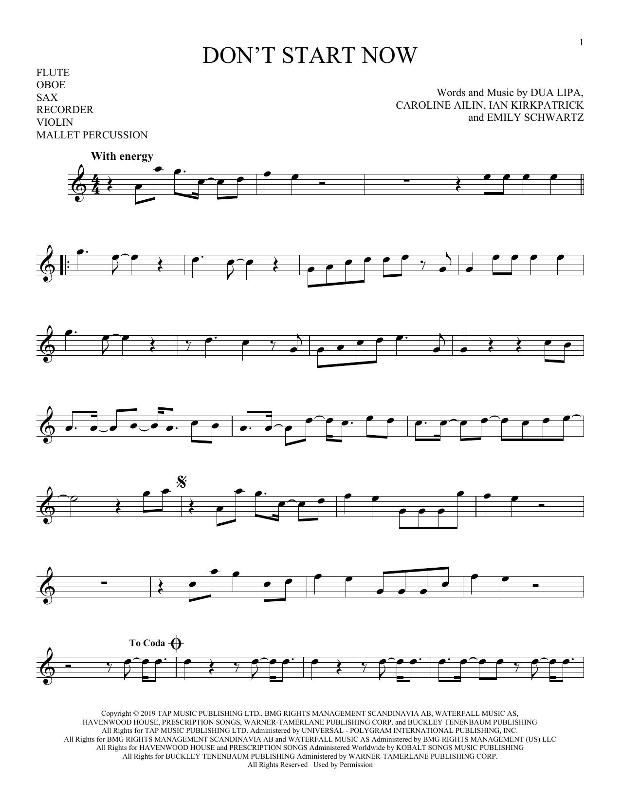 Don't Start Now (Instrumental Solo – Treble Clef High Range)
