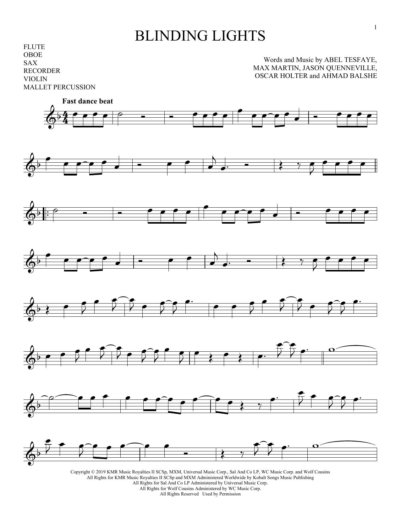 Blinding Lights (Instrumental Solo – Treble Clef High Range)