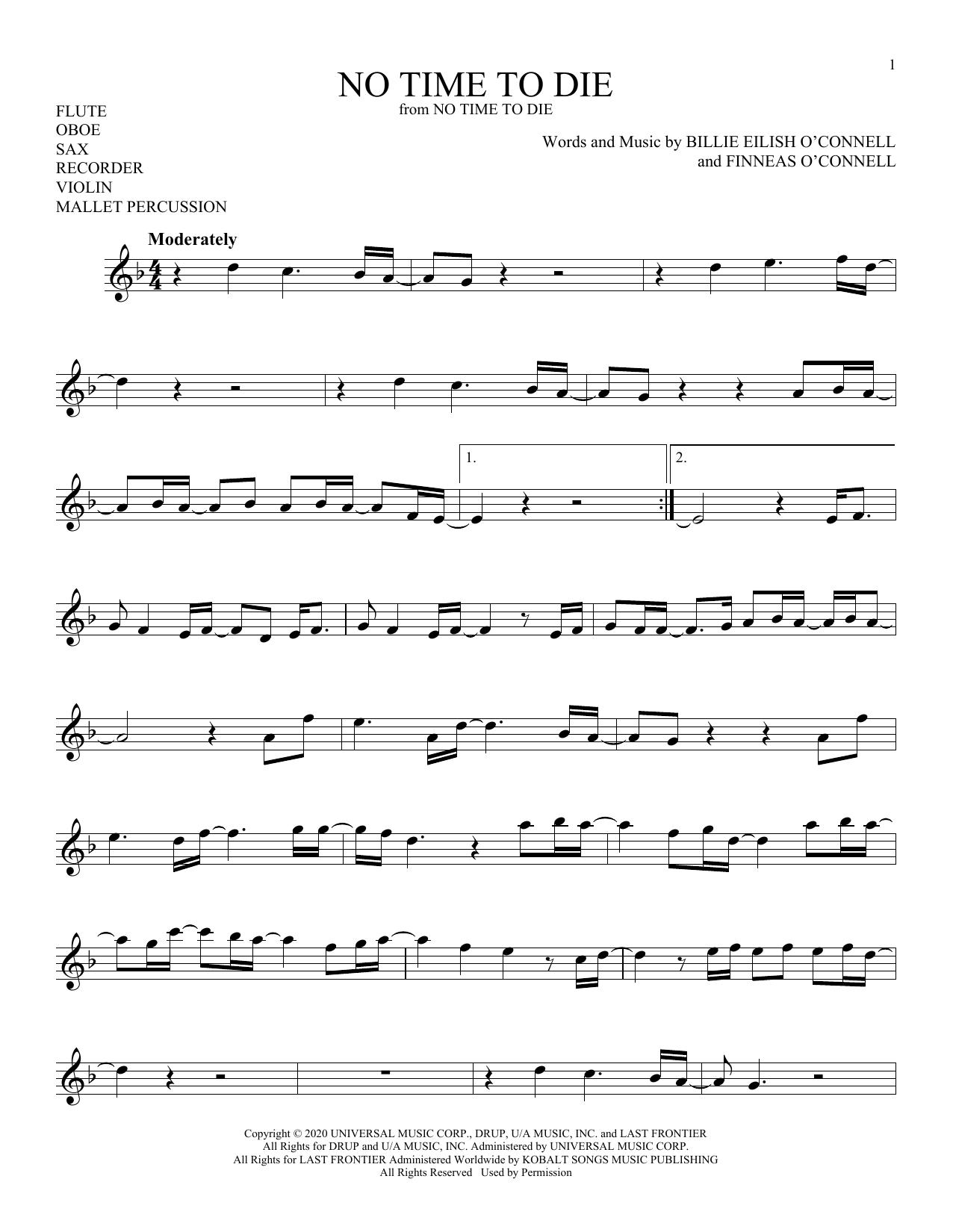 No Time To Die (Instrumental Solo – Treble Clef High Range)