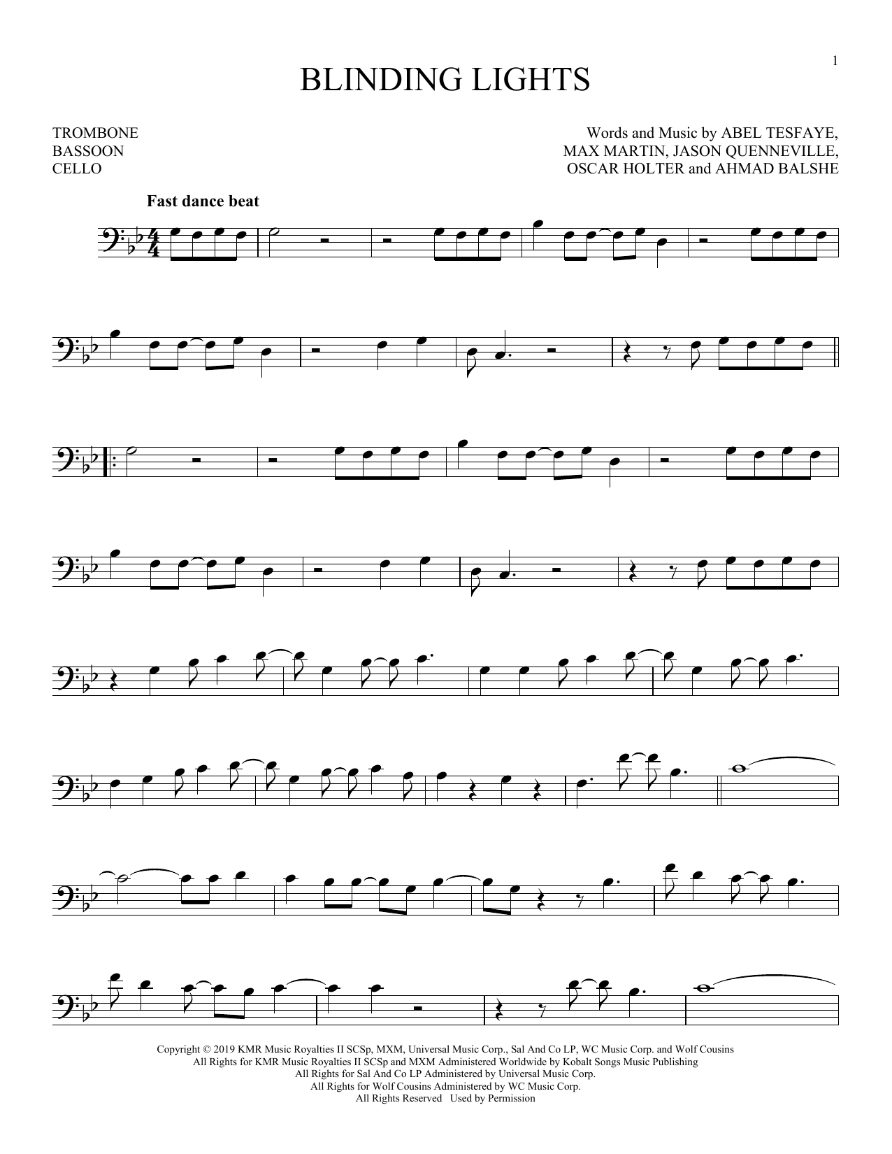Blinding Lights (Instrumental Solo – Bass Clef)