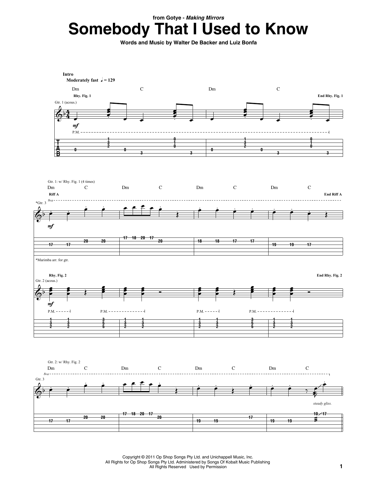 Somebody That I Used To Know (feat. Kimbra) (Guitar Tab)