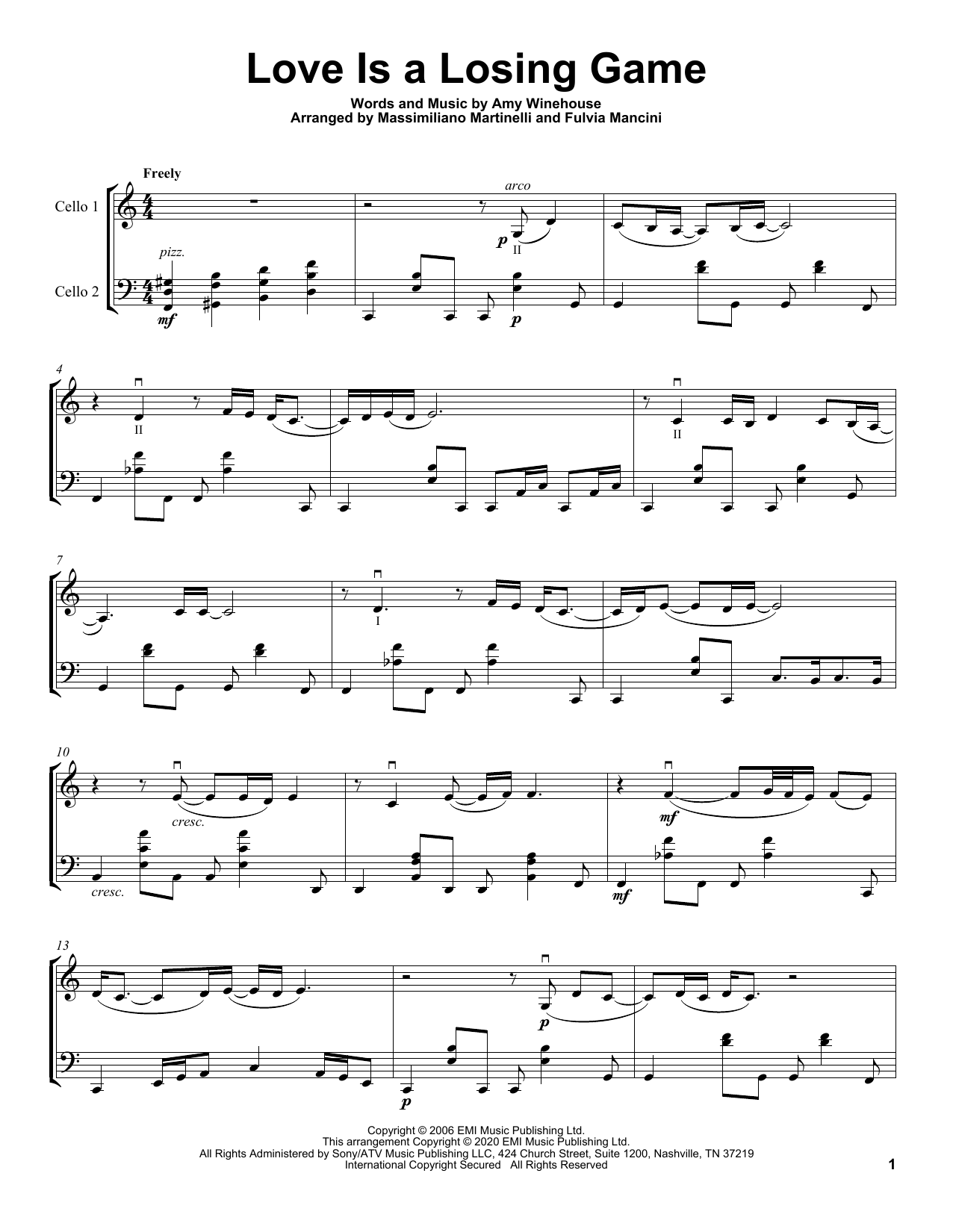 Love Is A Losing Game (Cello Duet)
