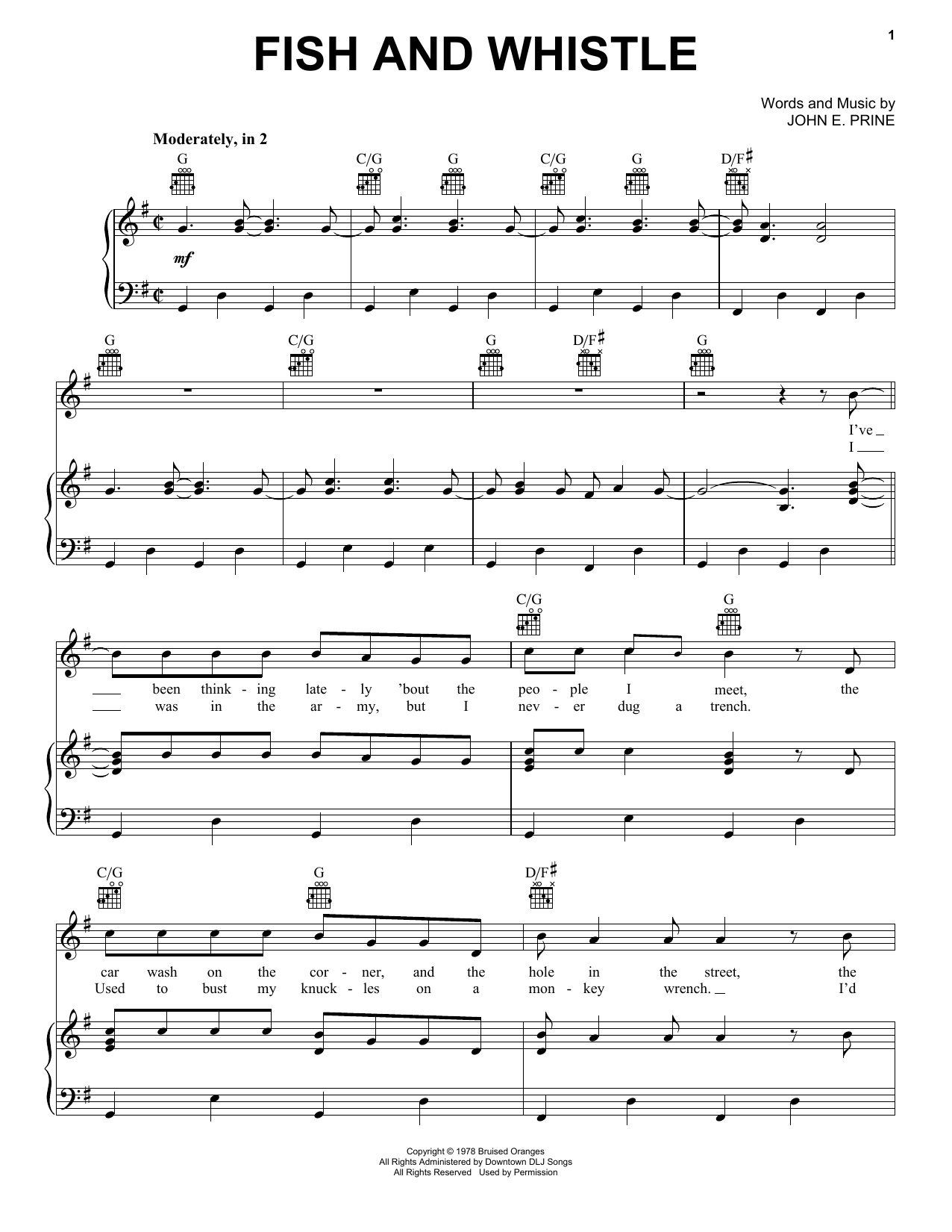 Fish And Whistle (Piano, Vocal & Guitar (Right-Hand Melody))