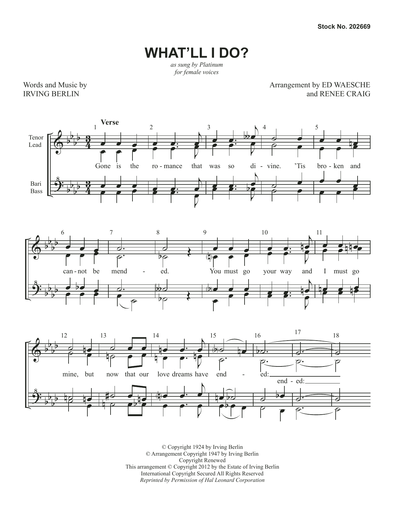 What'll I Do? (arr. Ed Waesche and Renee Craig) Sheet Music