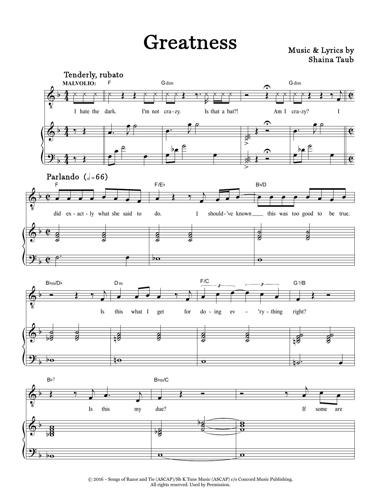 Greatness (from Twelfth Night) Sheet Music